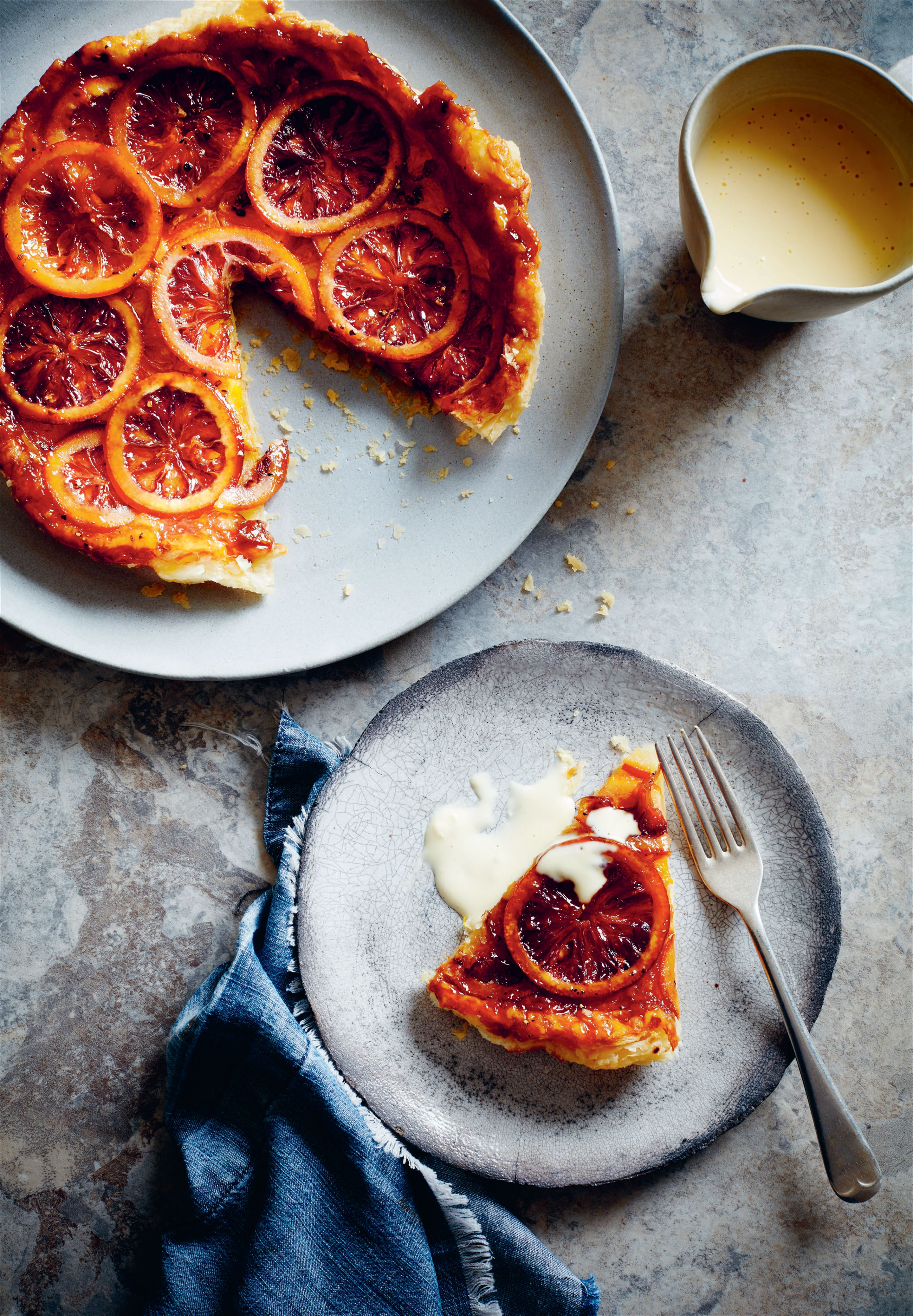 Blood orange and cardamom tarte tatin