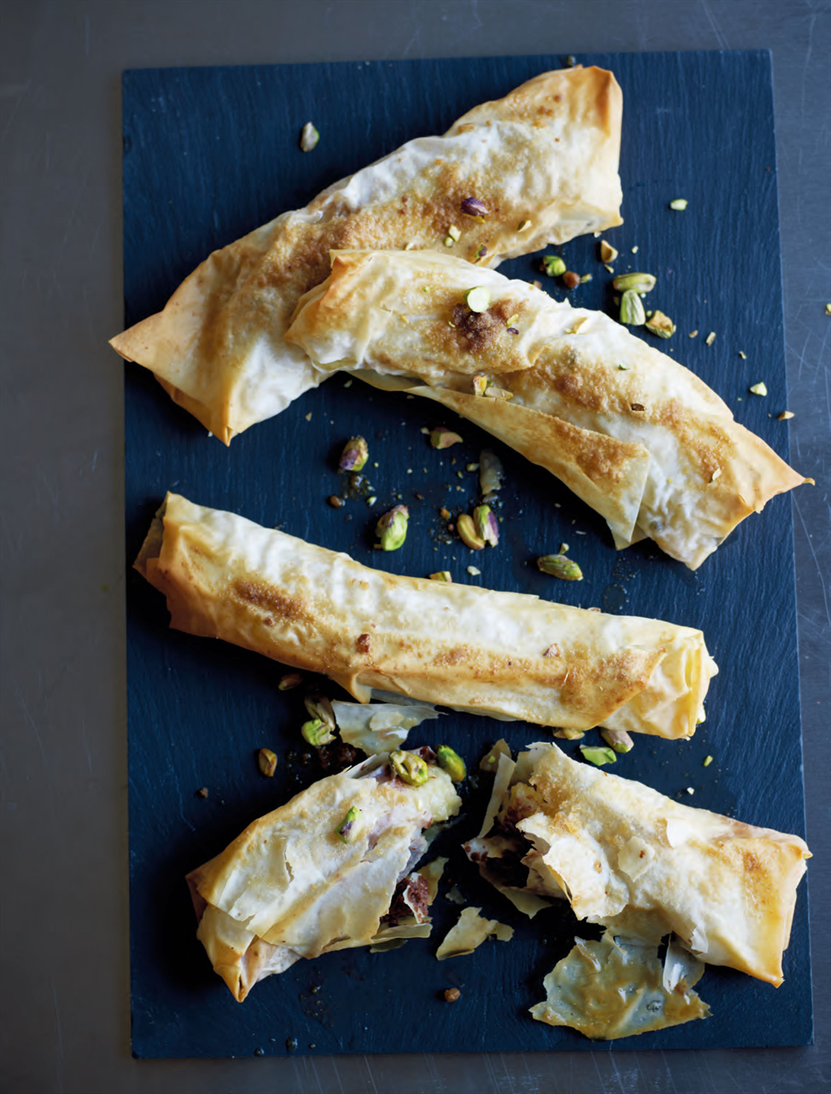 Baked banana & filo parcels with pistachios