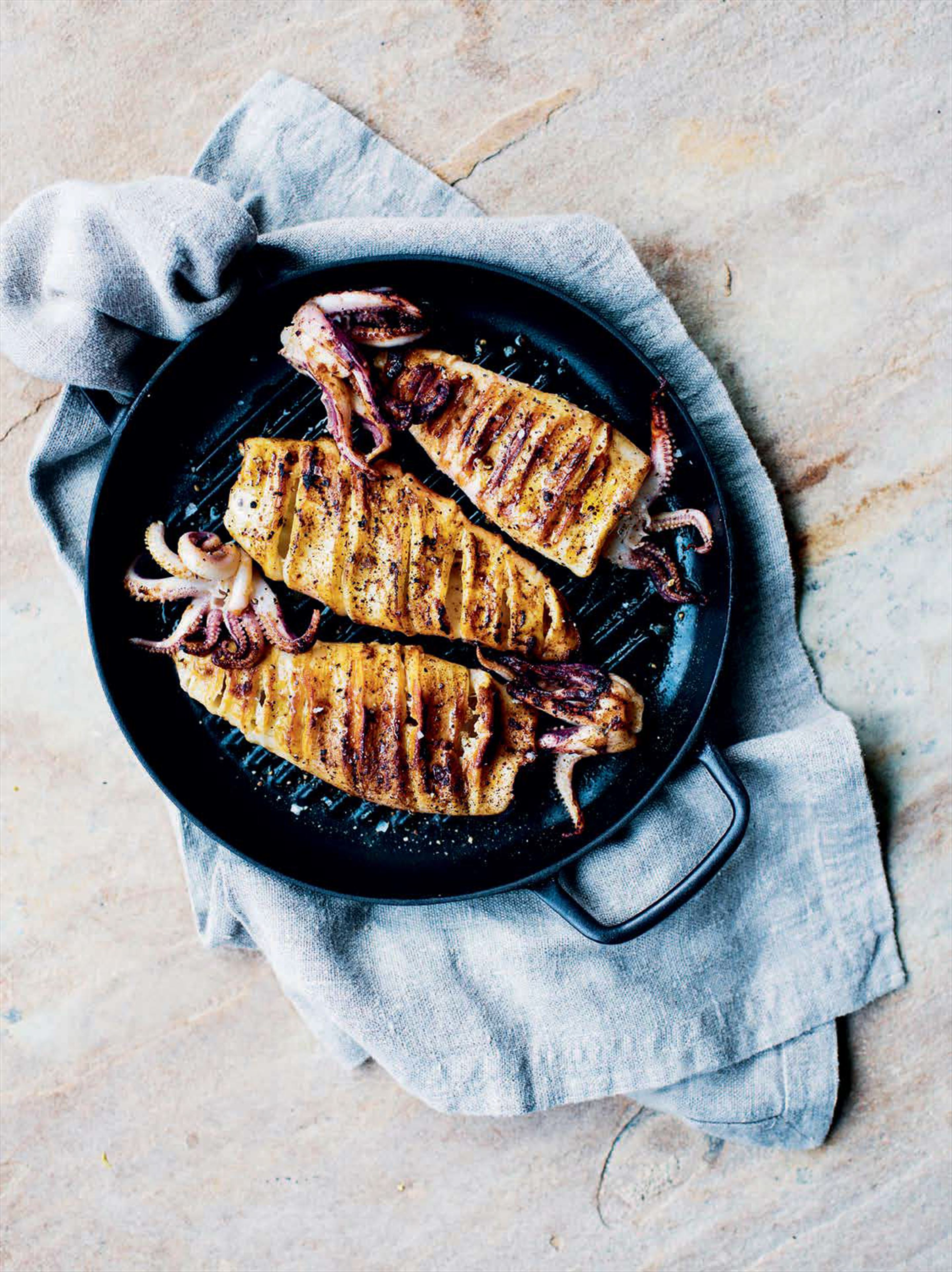 Spiced griddled squid