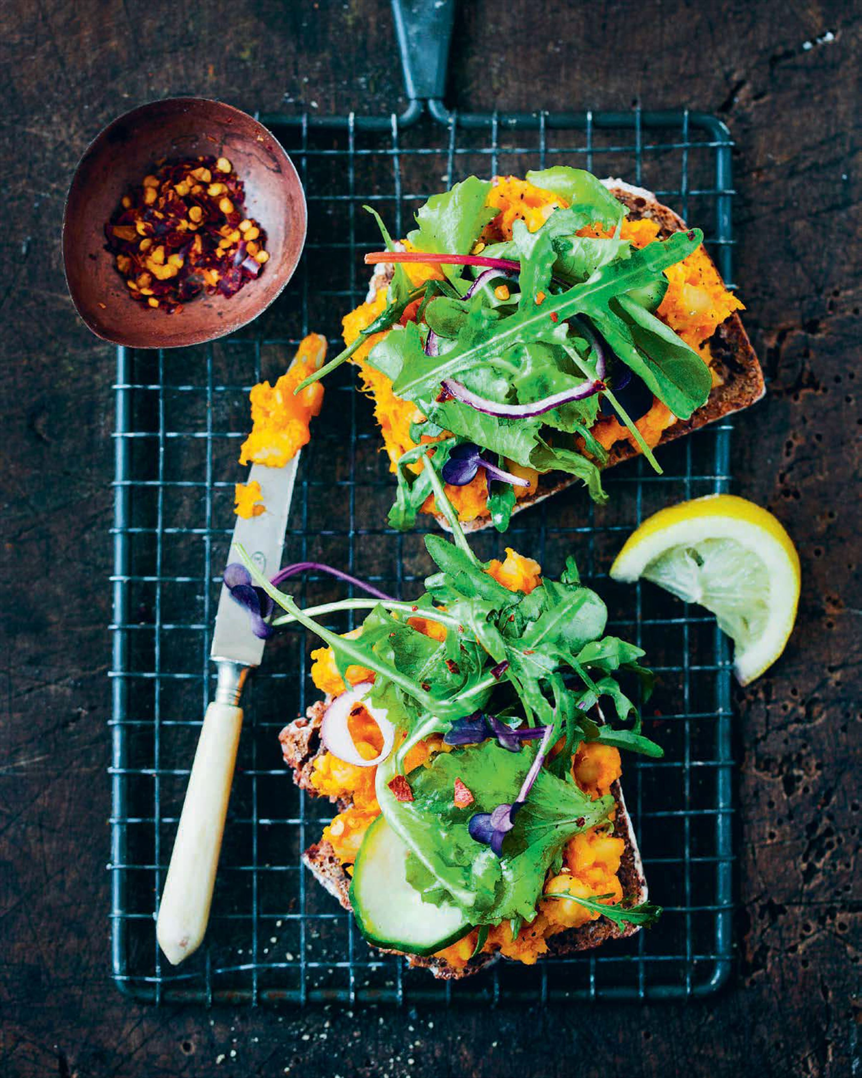 Roast butternut and rocket smørrebrød
