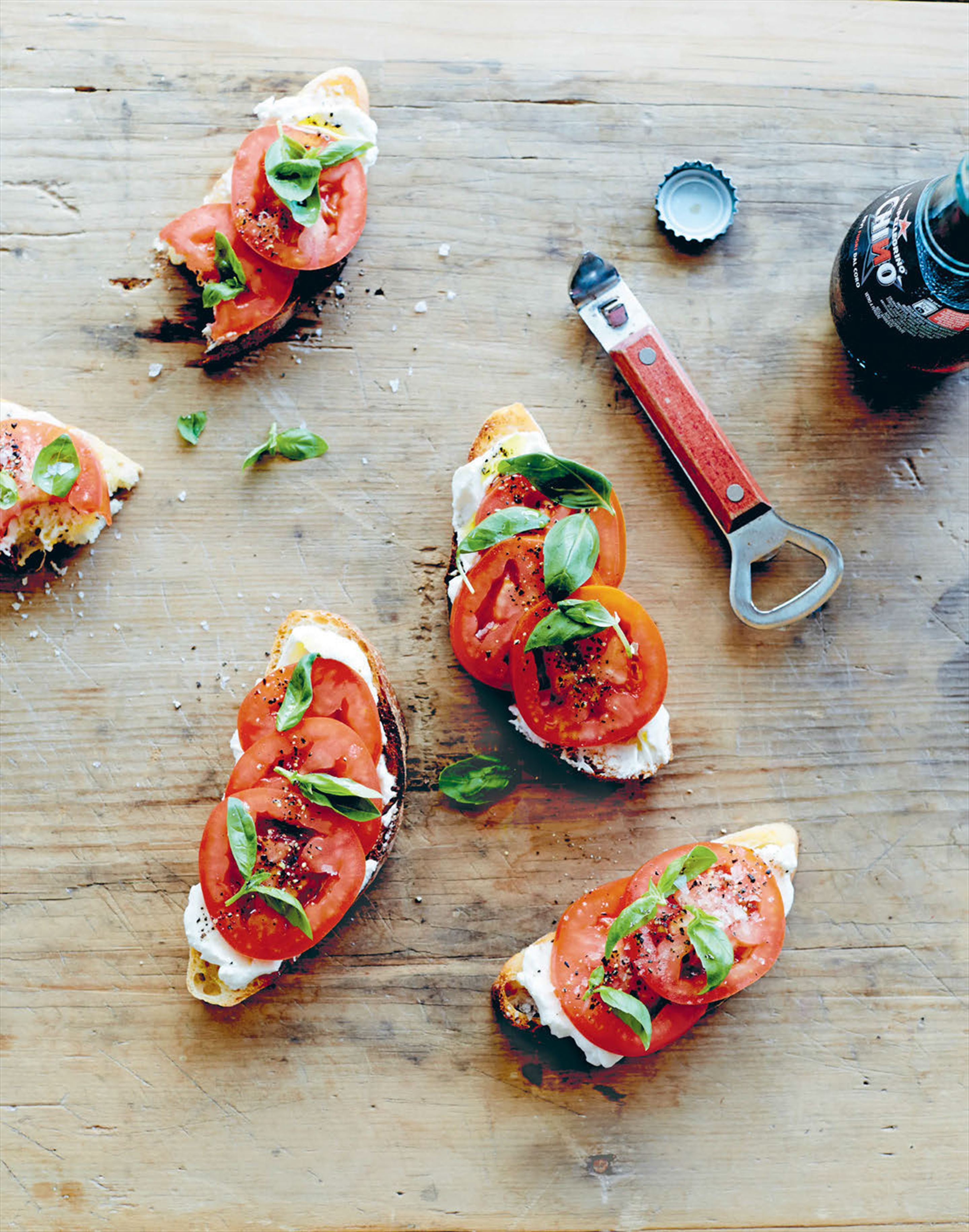Tomato, buffalo curd and basil bruschetta