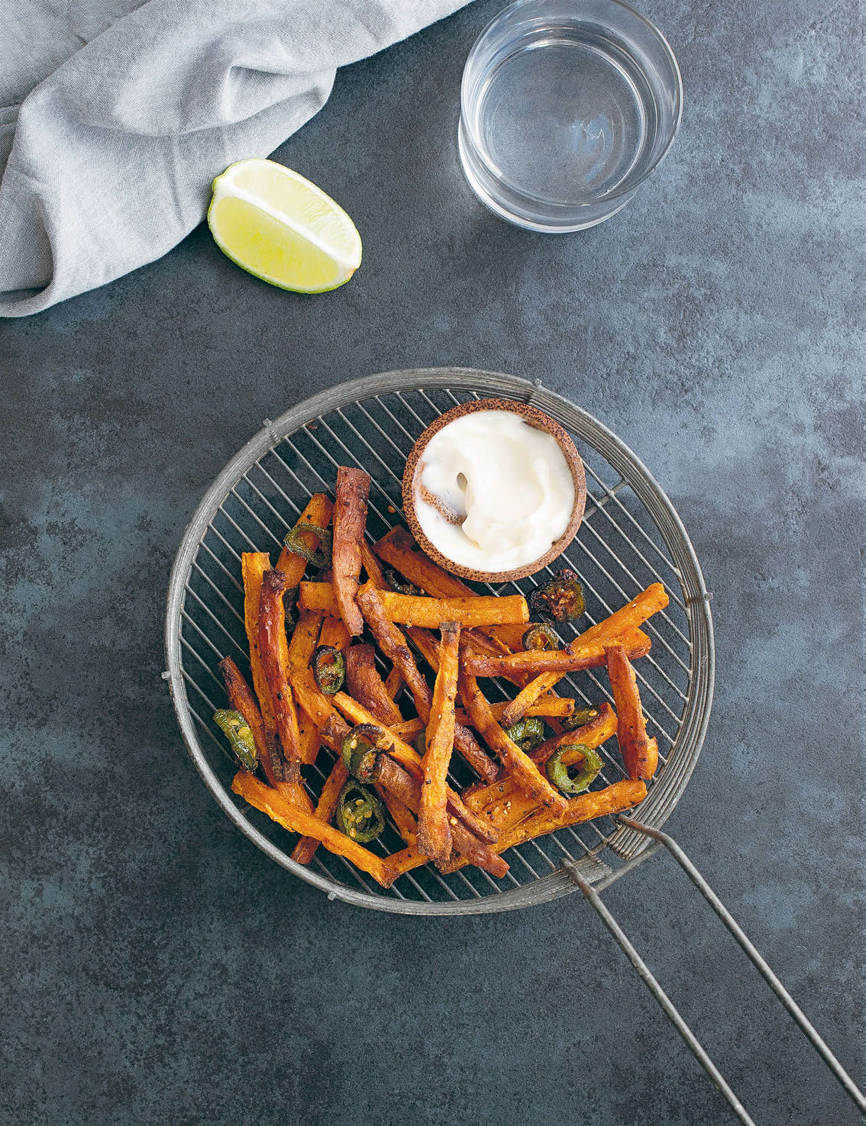 Jalapeño and garlic sweet potato fries