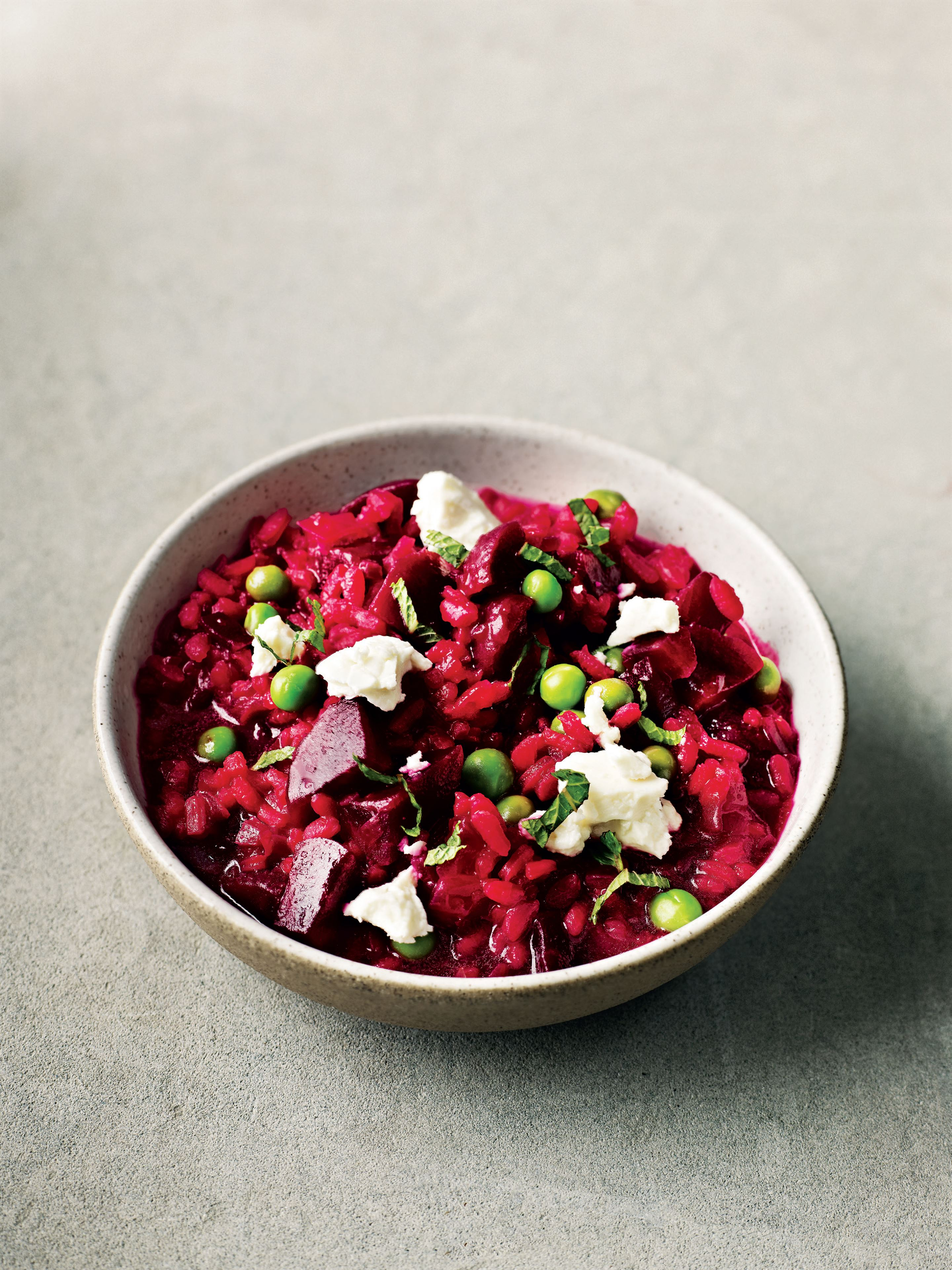 Beetroot and pea risotto with mint and feta