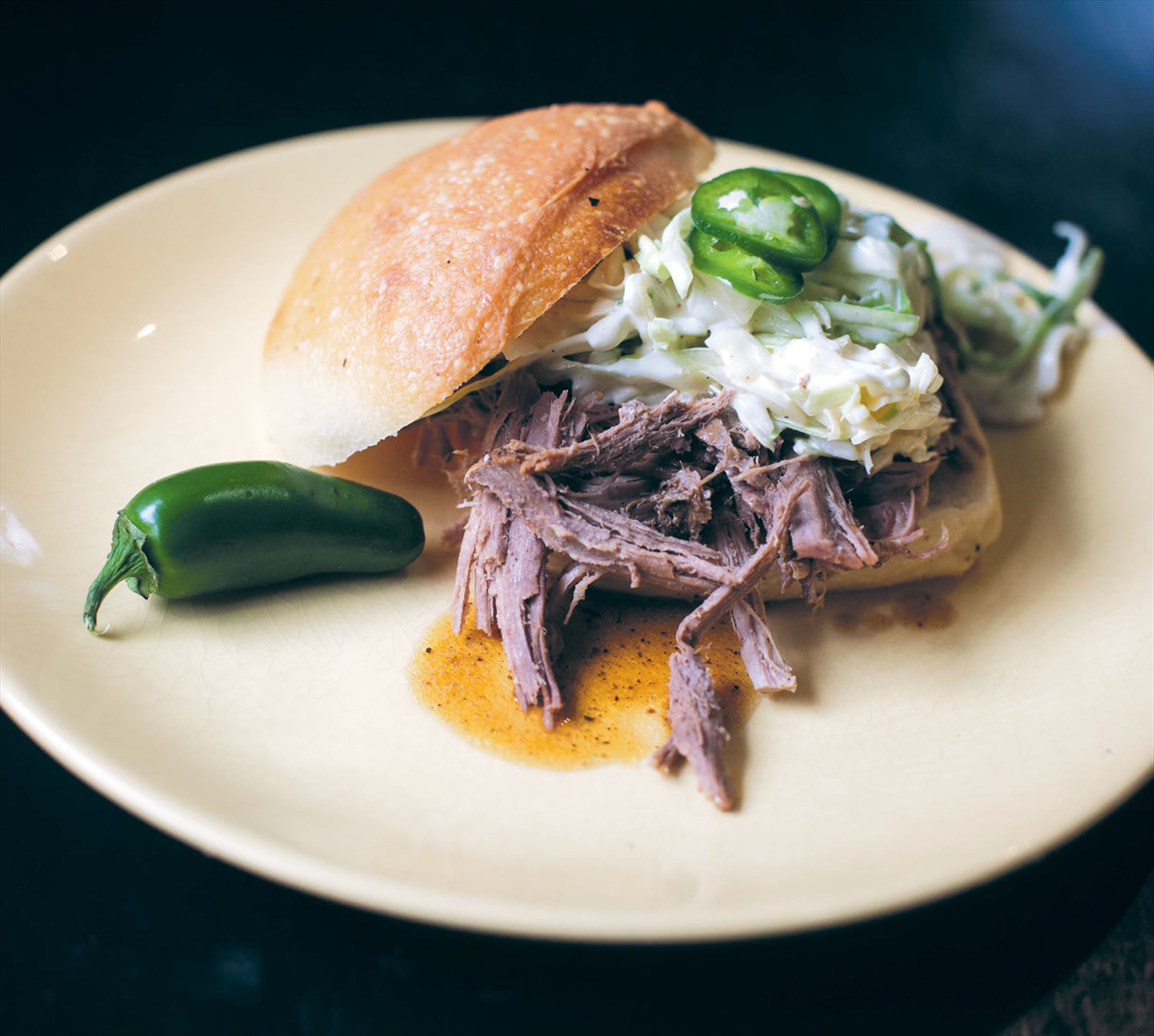 Lazy & slow pork 'n' slaw buns