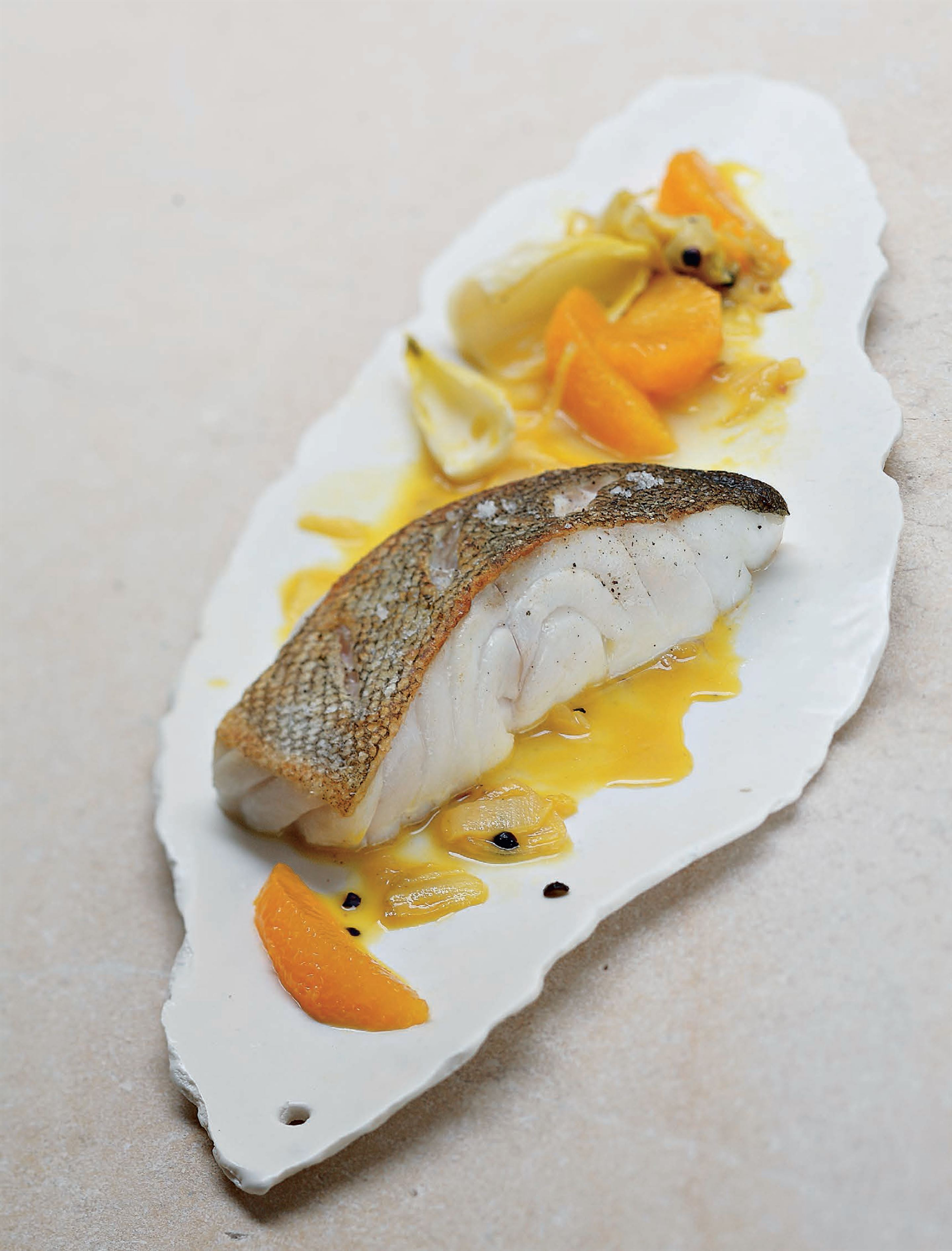 Cod with slow-cooked endives in orange