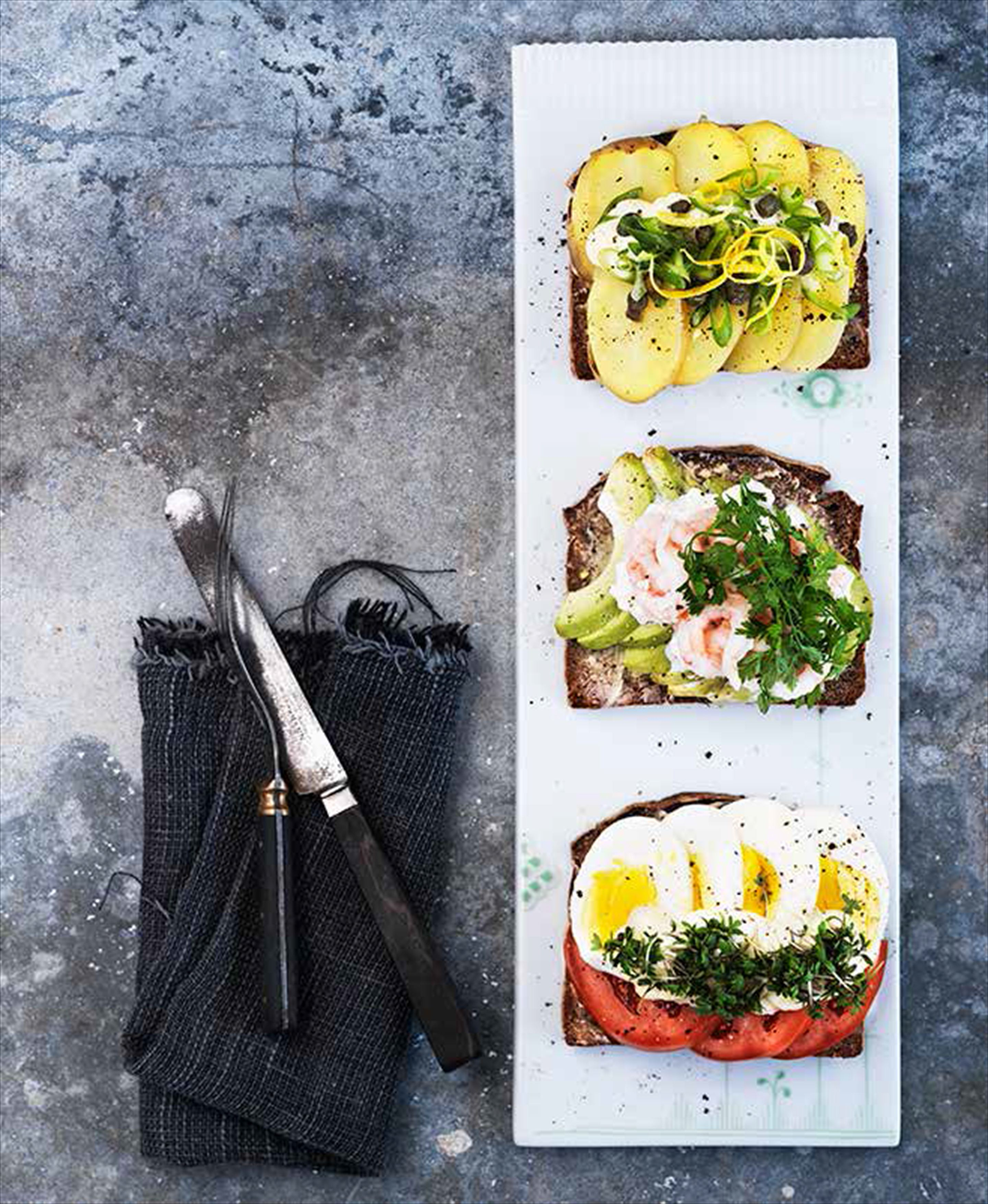 Three kinds of open sandwich