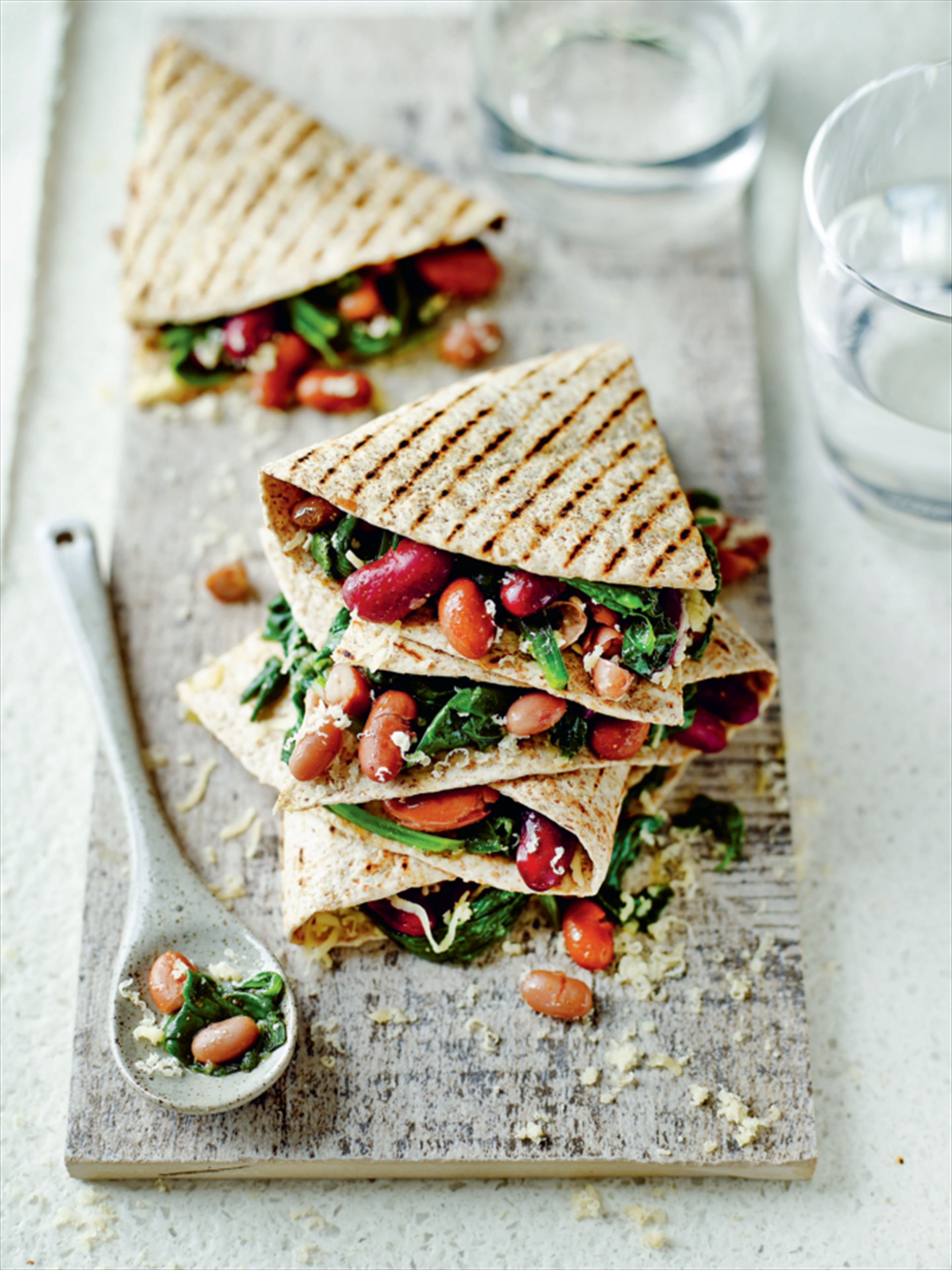 Spinach and mixed bean quesadillas
