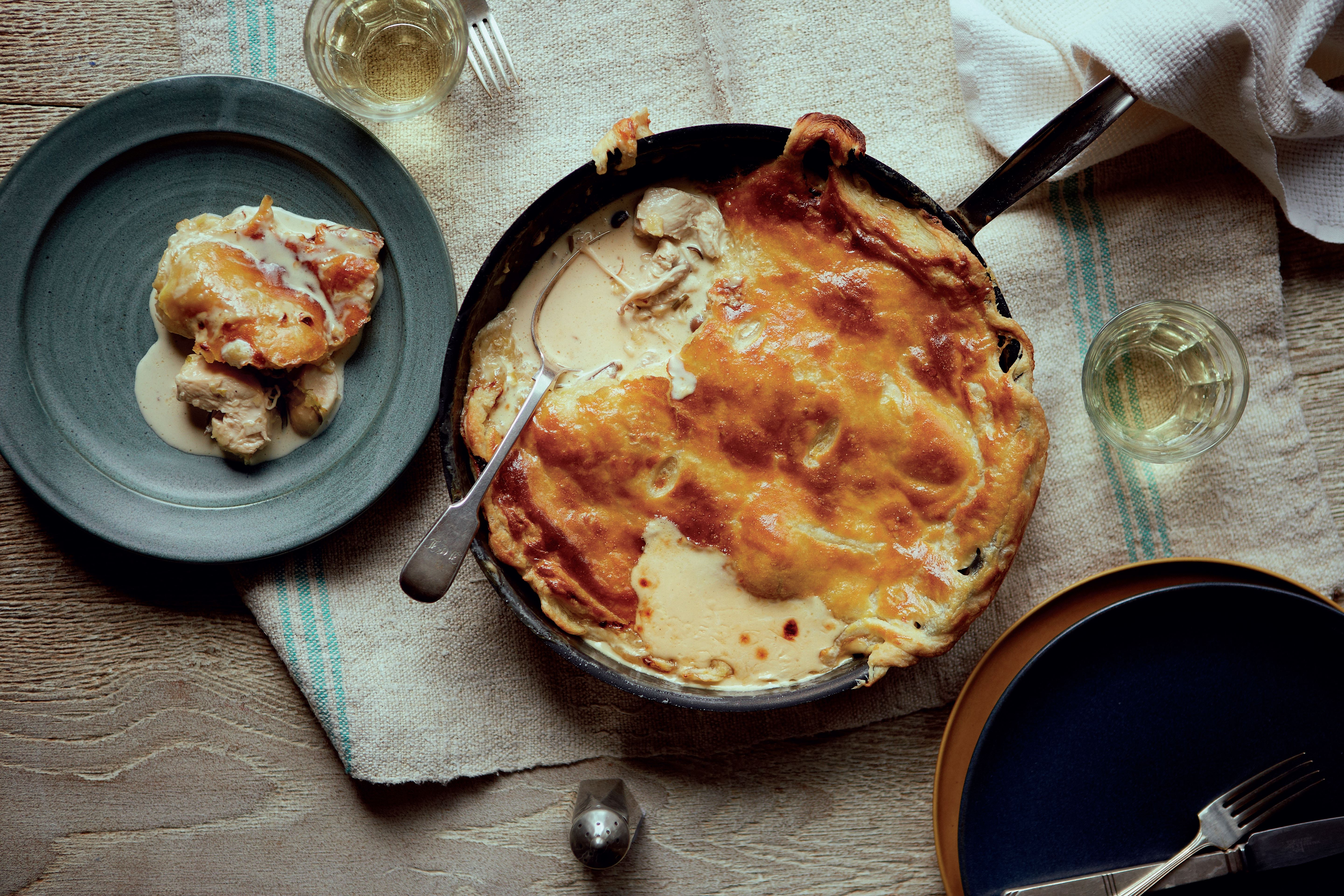 Chicken and wild mushroom frying pan pie