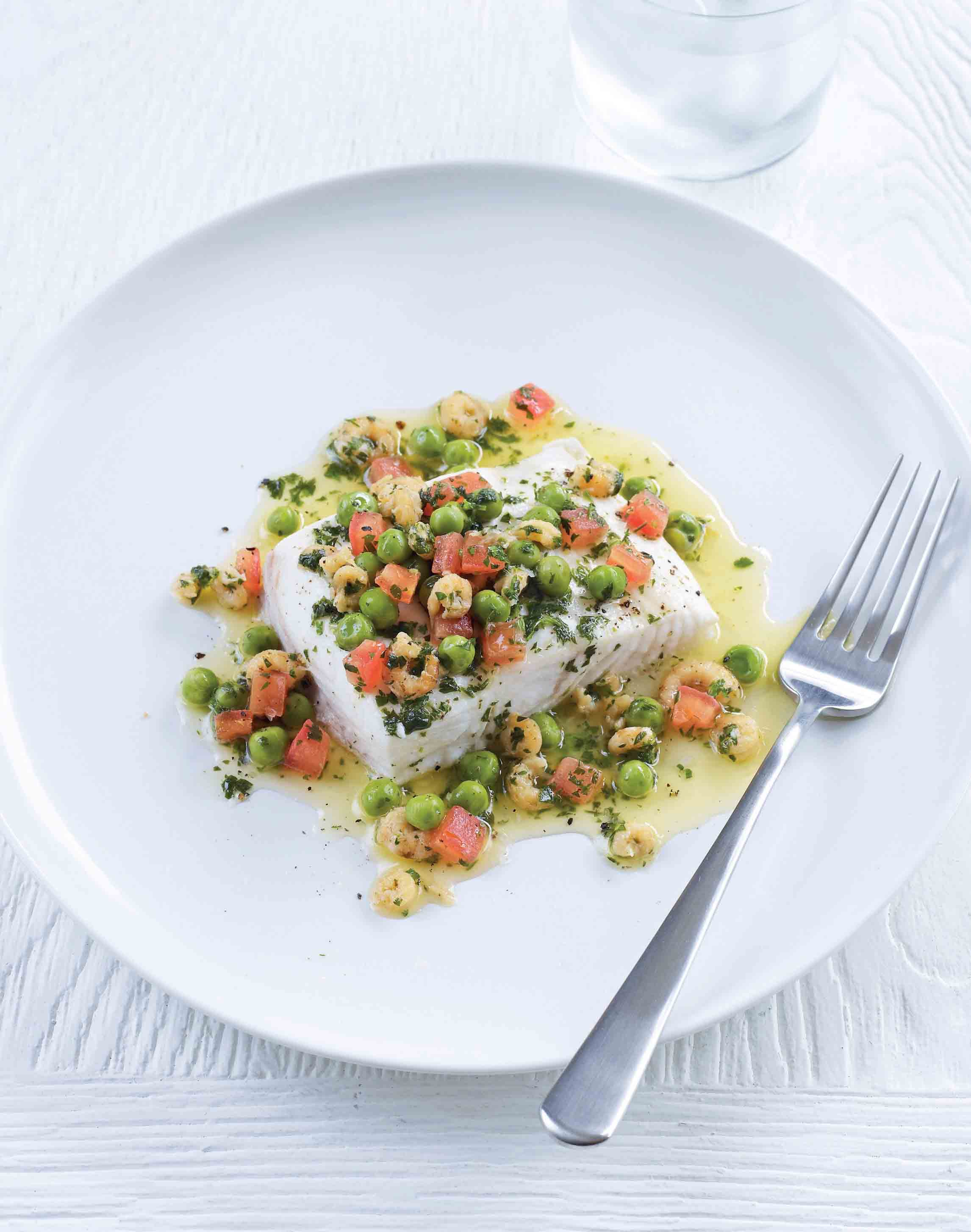 Halibut with brown shrimp, pea and tomato butter