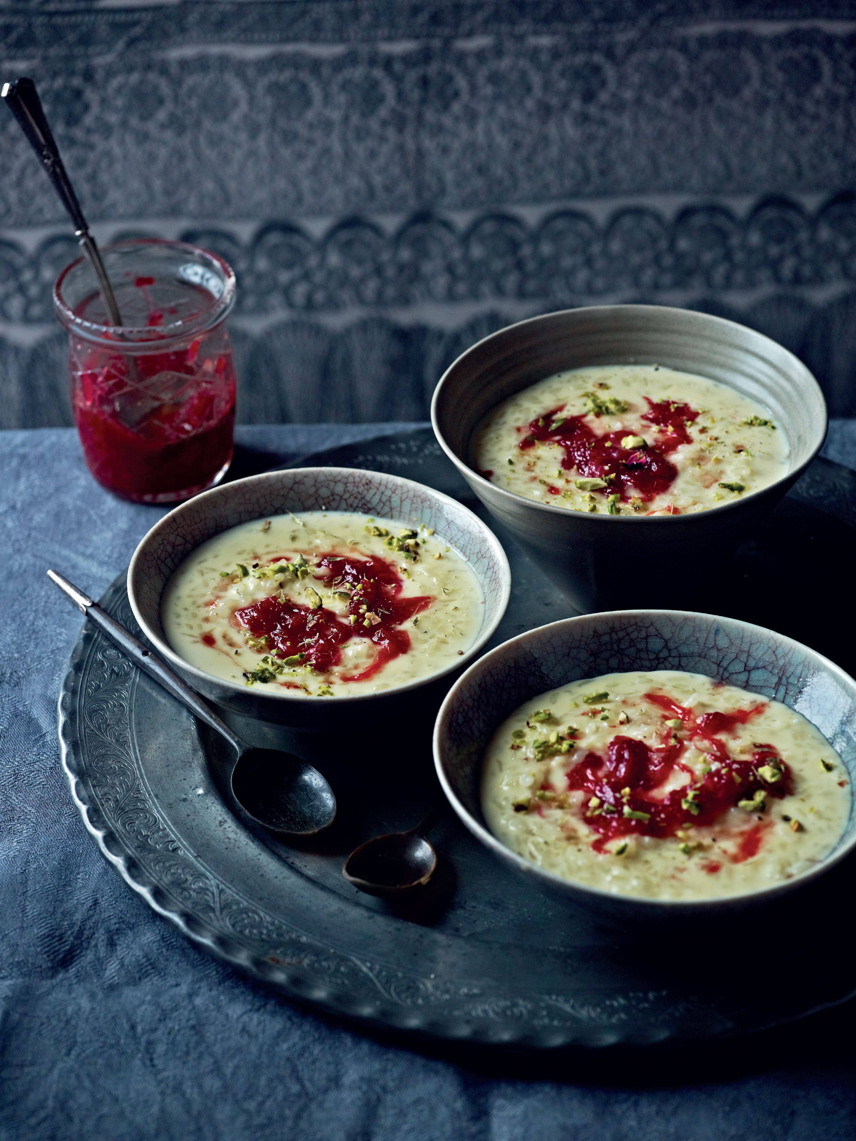 Rice pudding with rose petal jam