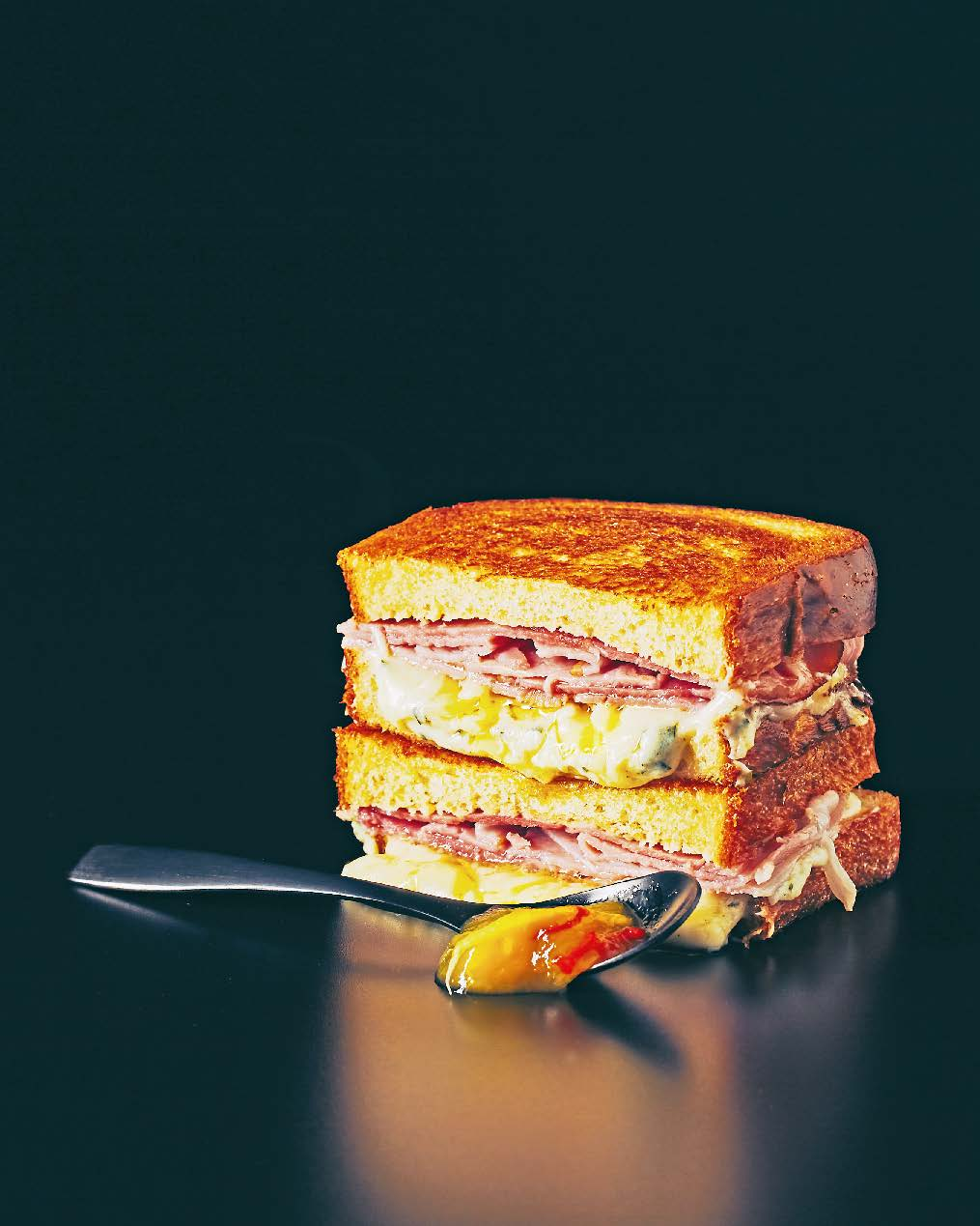 Croque monsieur with tarragon, sweet mustard salad + mango chutney