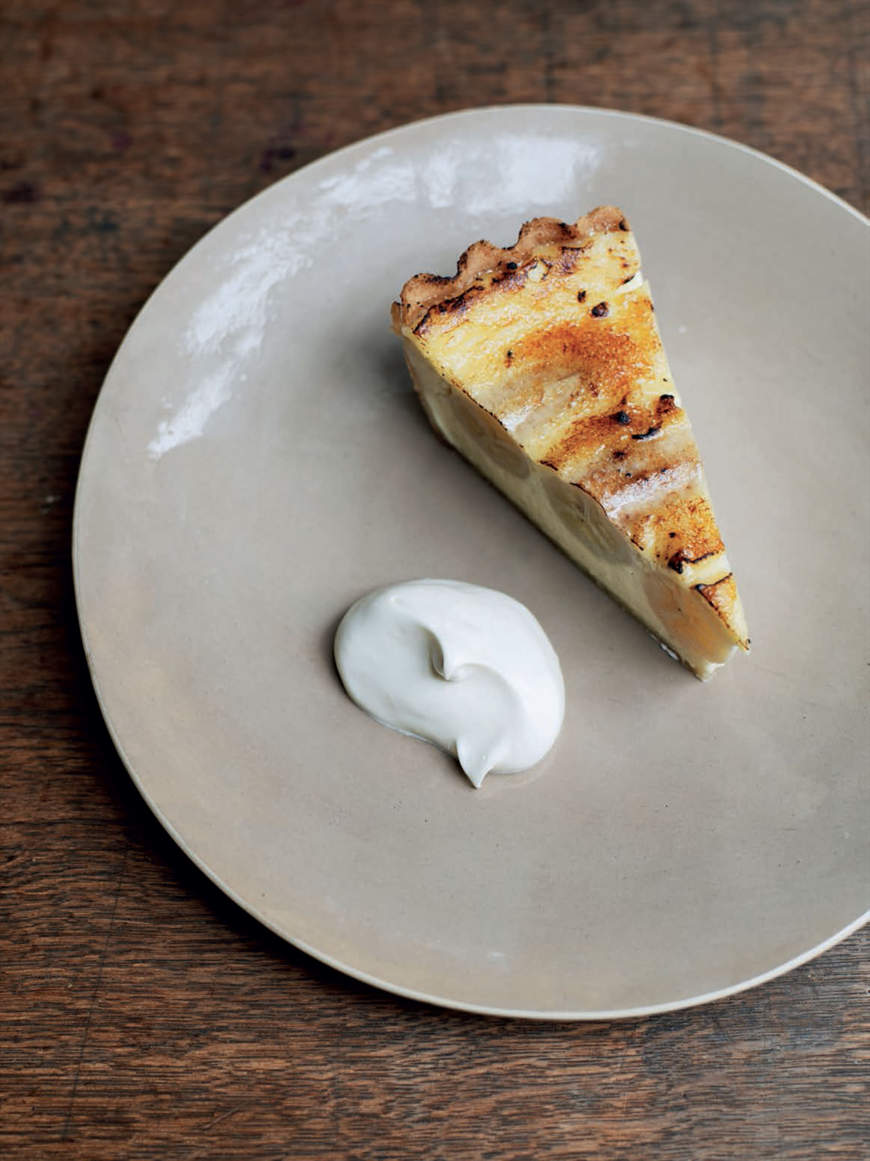 Banana and custard tart