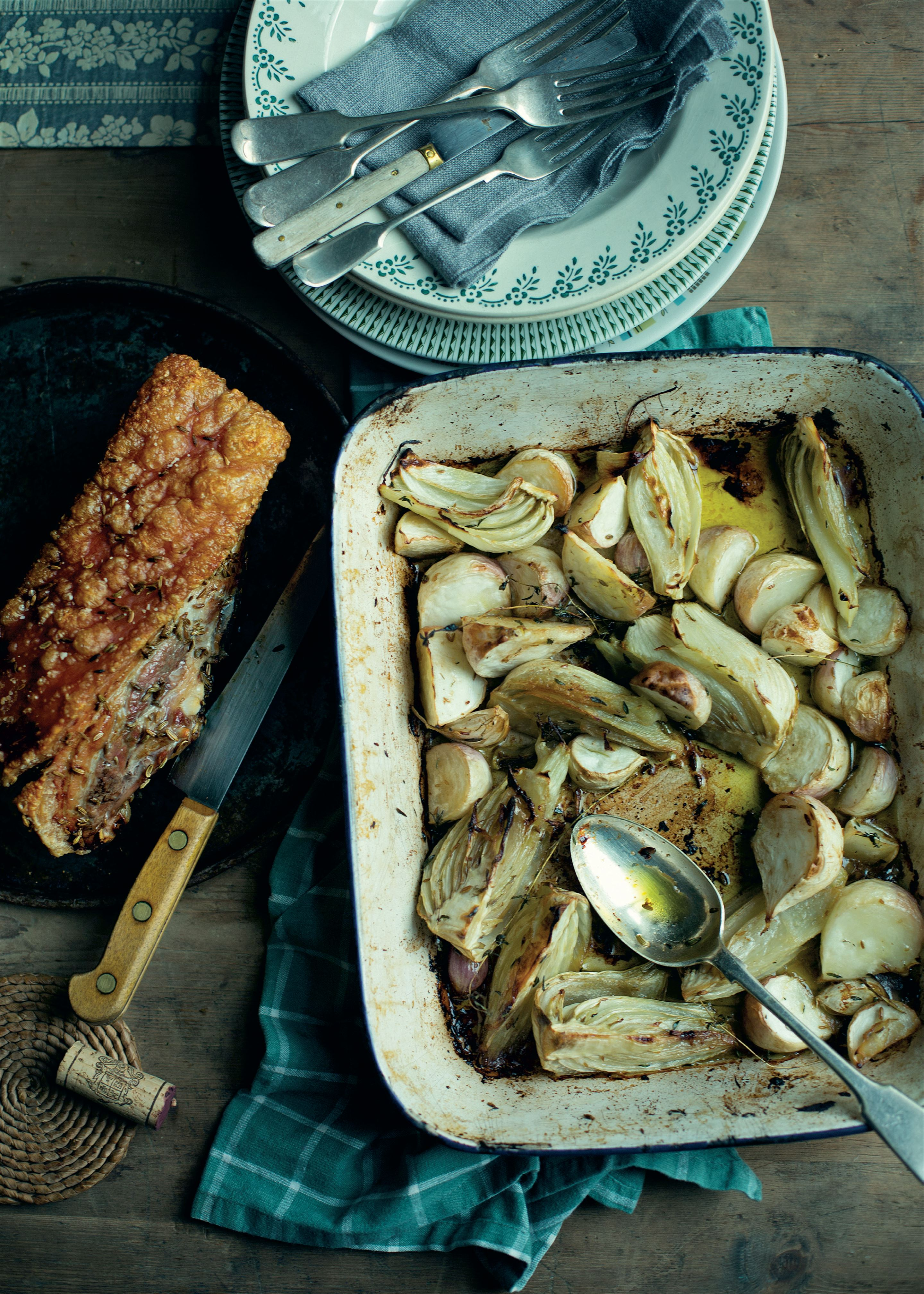 Roast pork belly with fennel and turnip