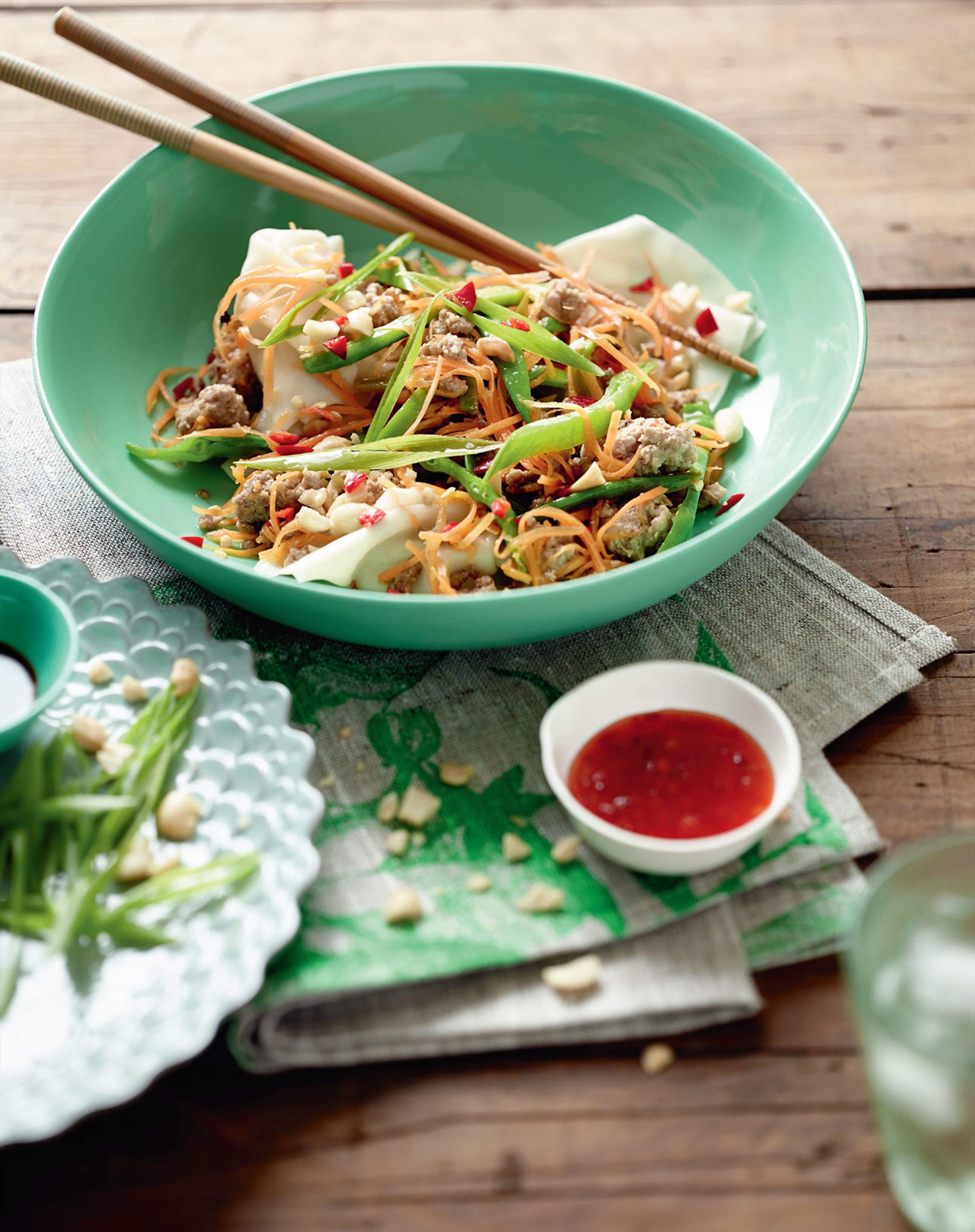 'Exploding' pork dumplings with snow peas