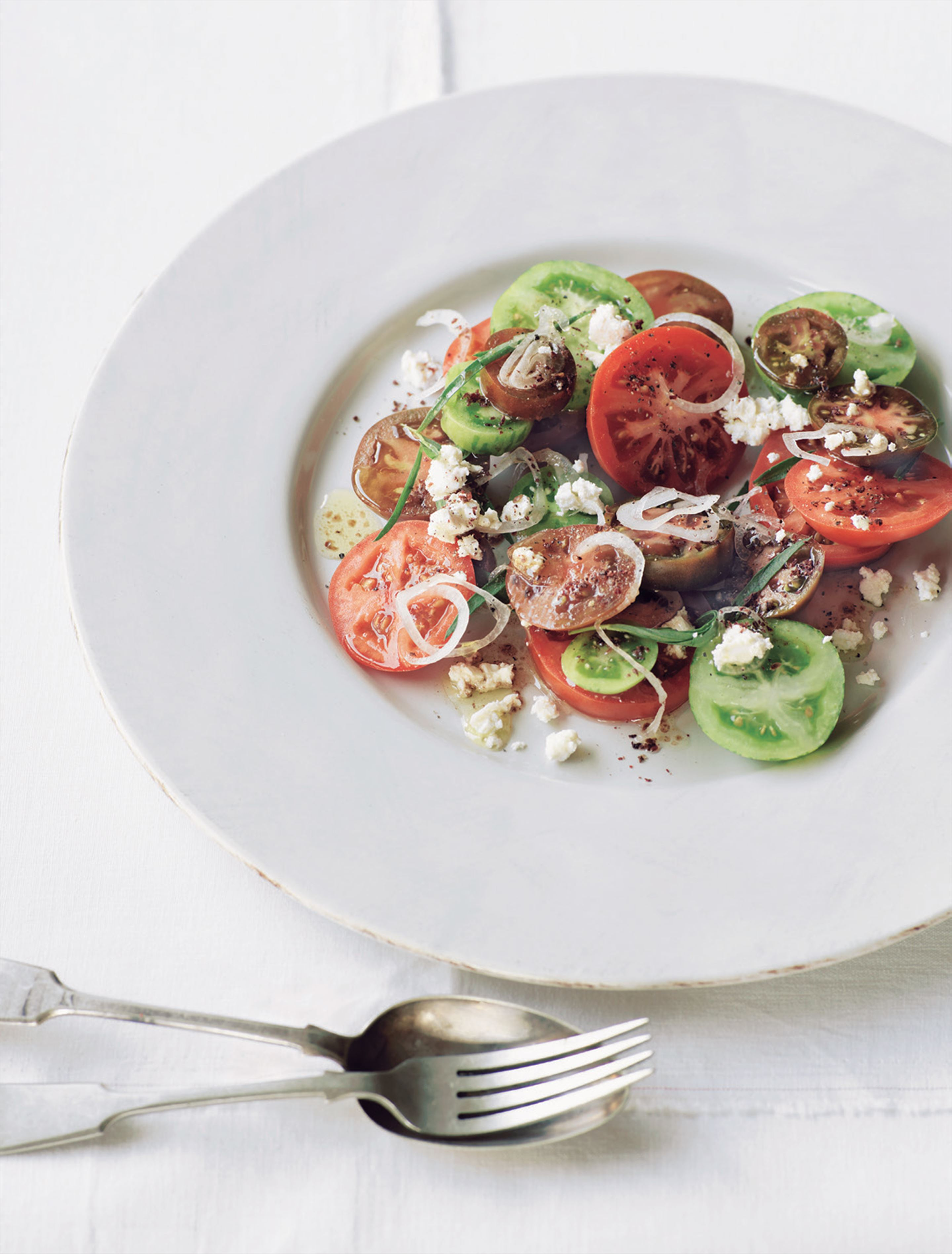 Tomato salad with tarragon, aged fetta and sumac dressing