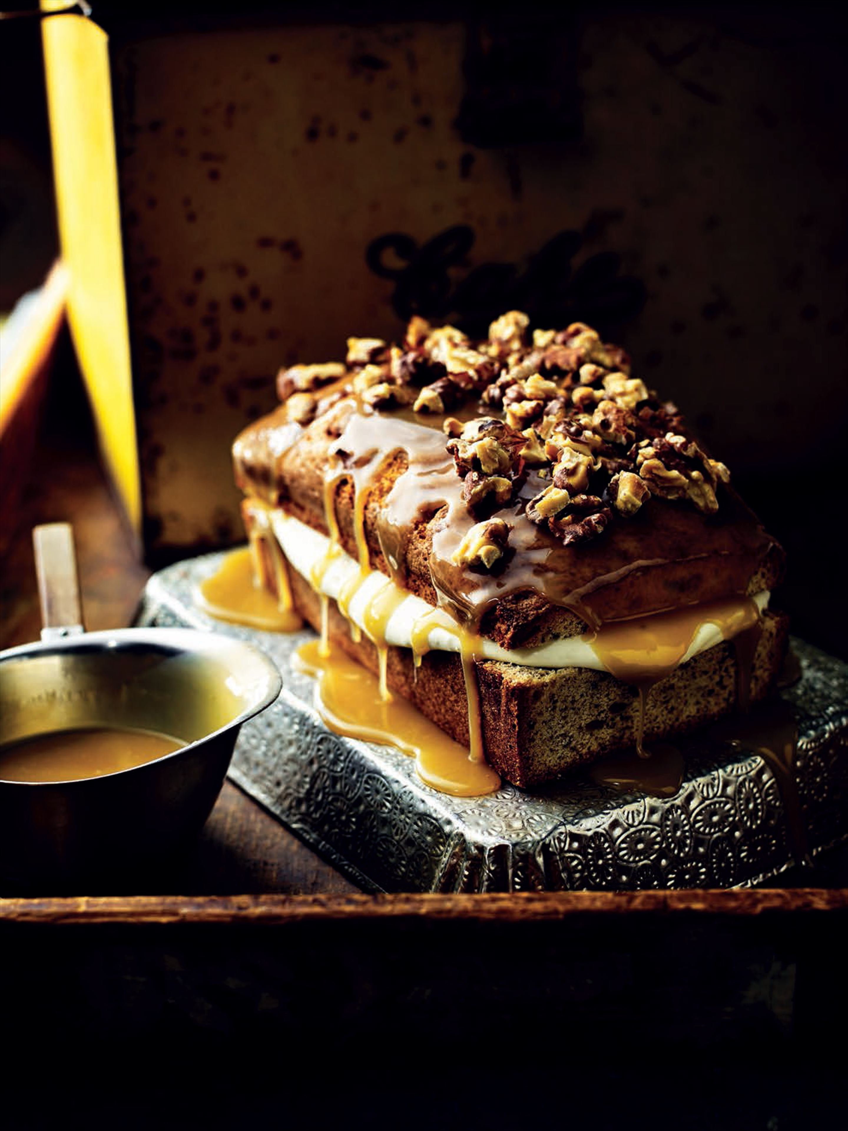 Walnut and coffee cake with salted caramel and clotted cream