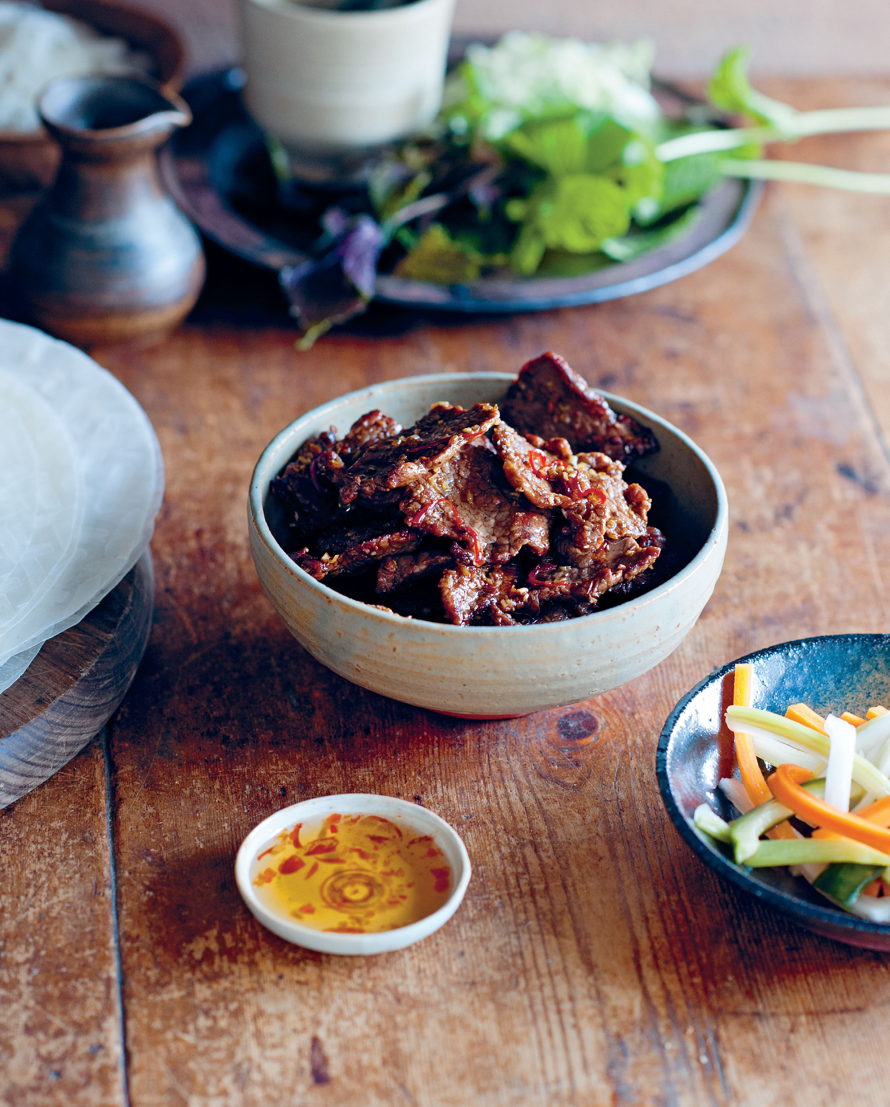 Lemongrass and chilli beef rice paper rolls