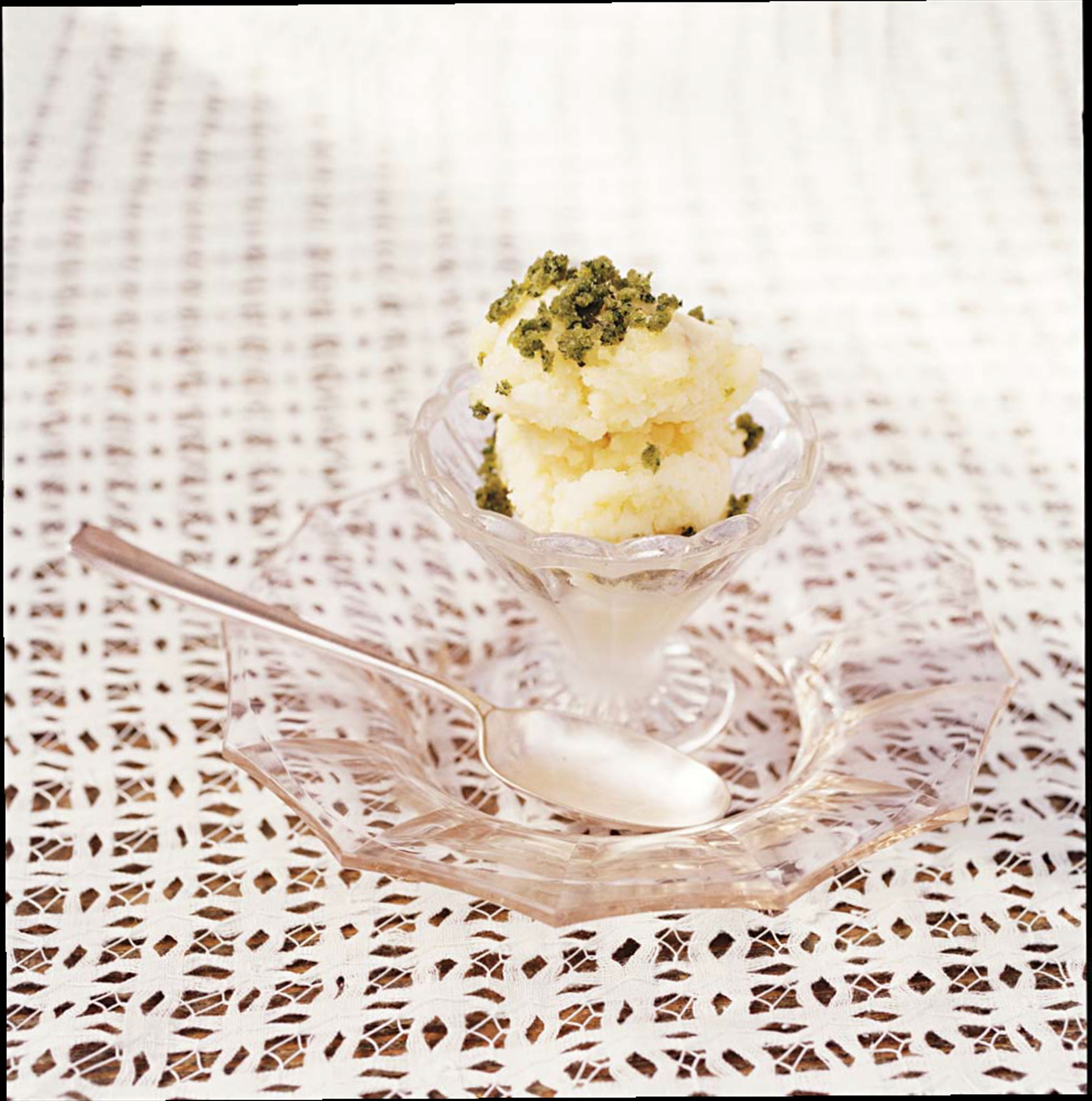 Lemon sorbet with crushed mint