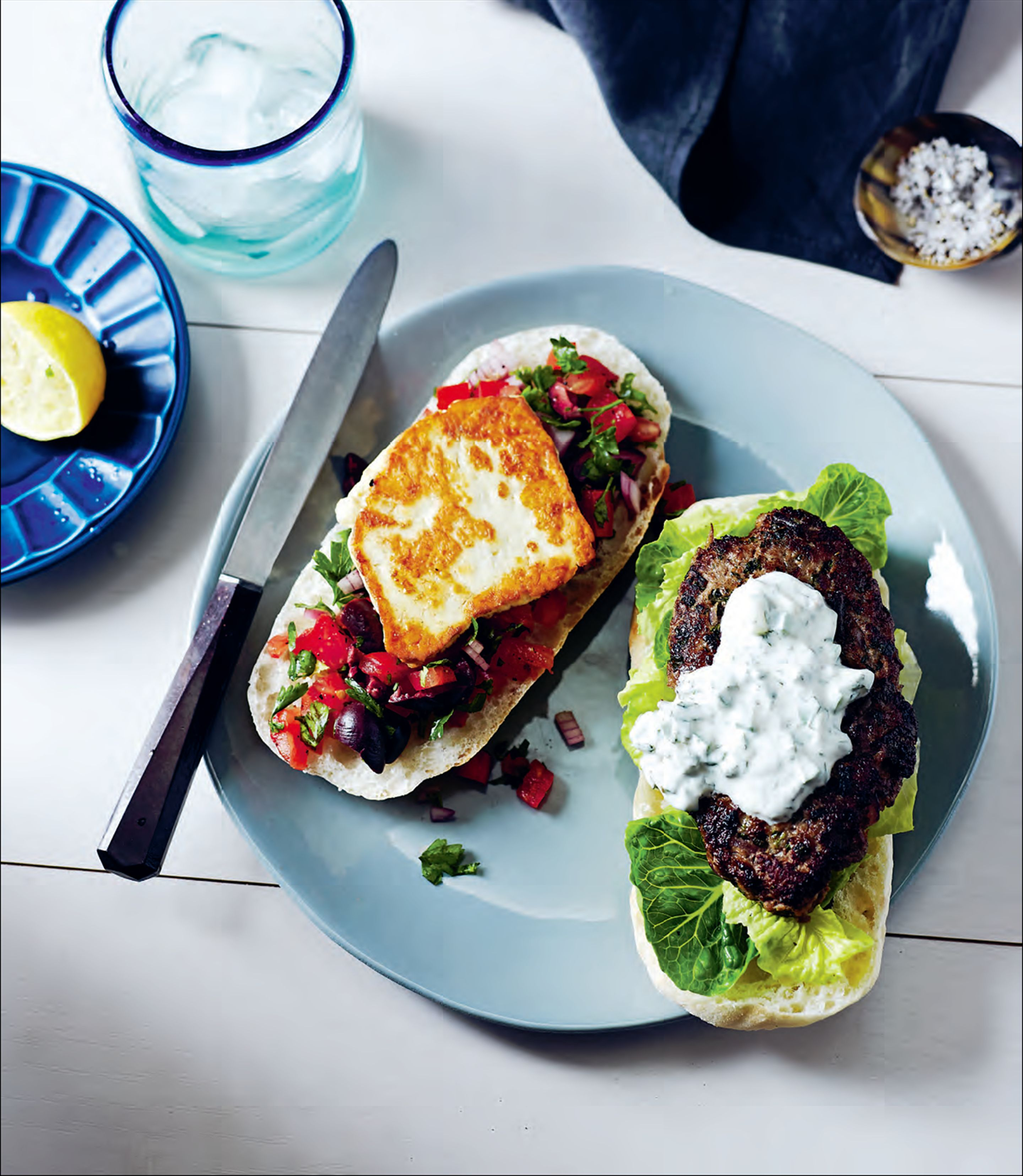 Greek lamb and haloumi burgers