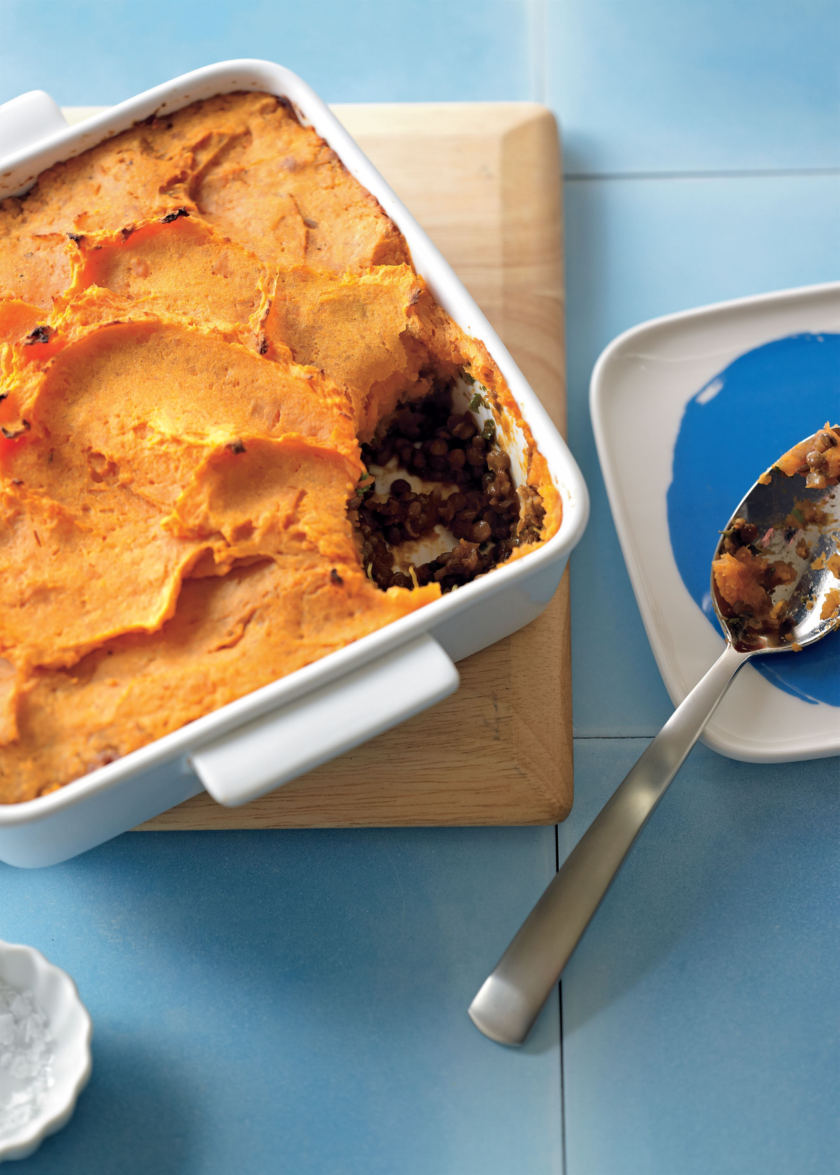 Moroccan lentil and sweet potato shepherd's pie