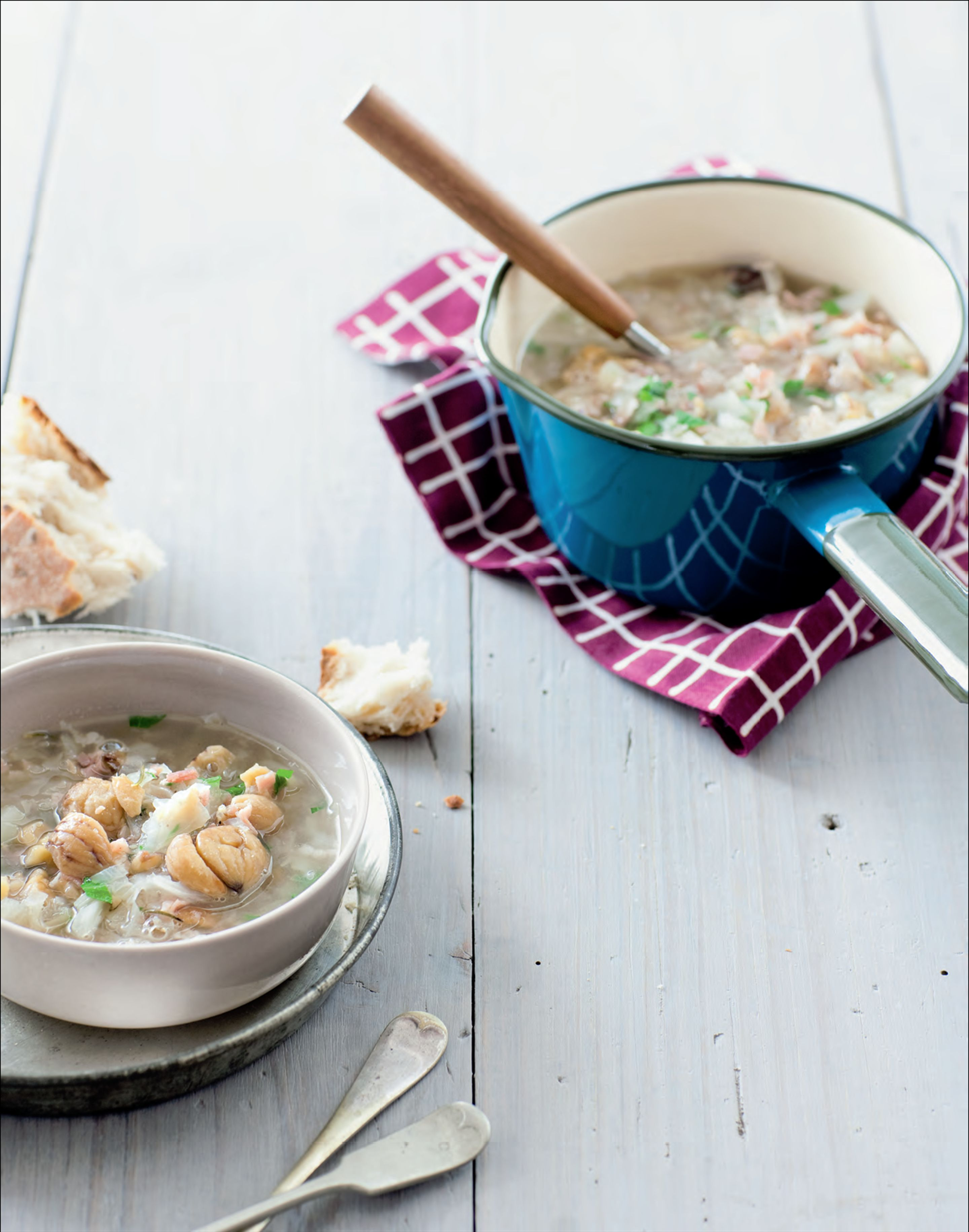 Chestnut, cabbage and pancetta soup
