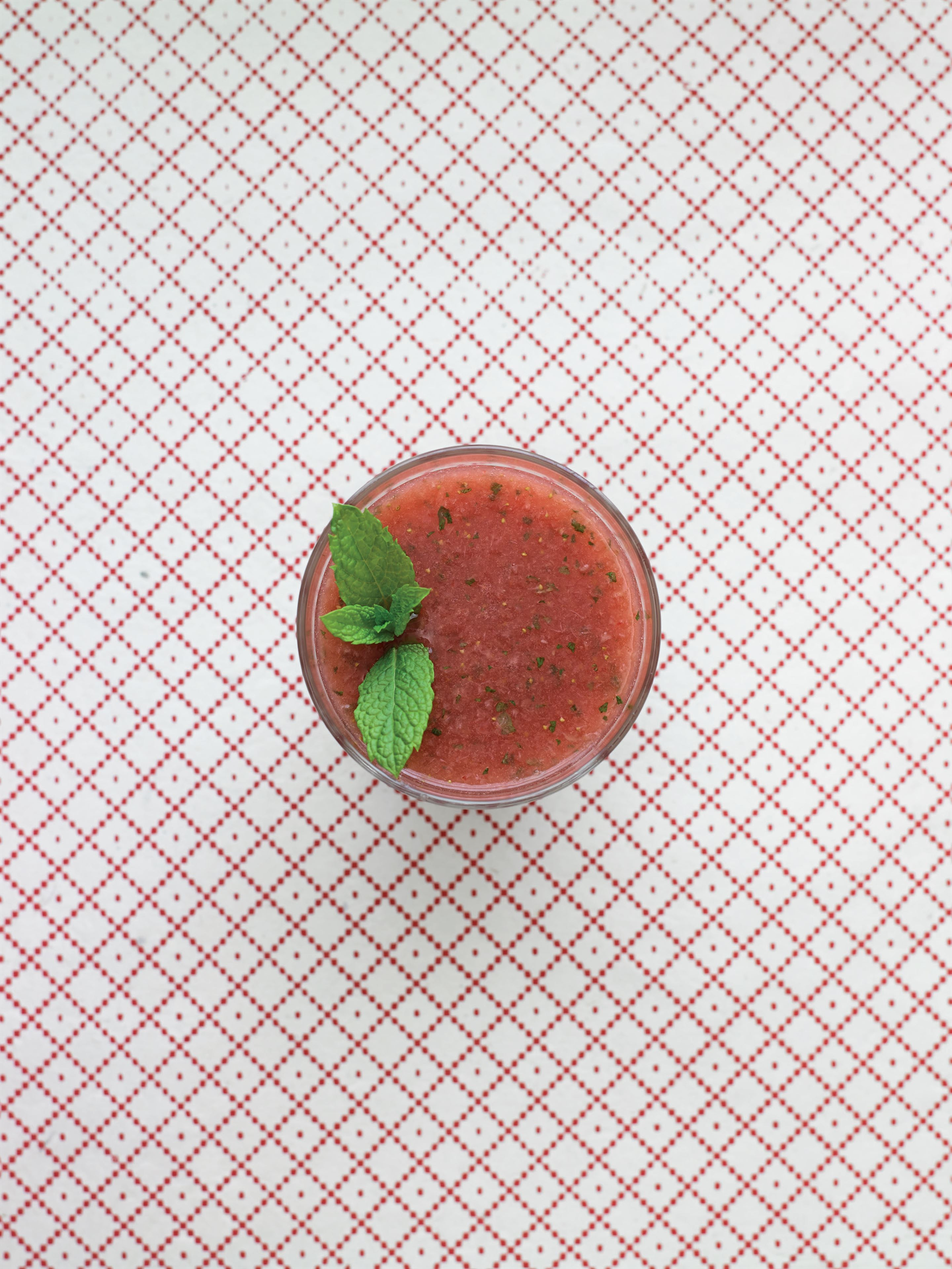 Watermelon, strawberry and mint crush