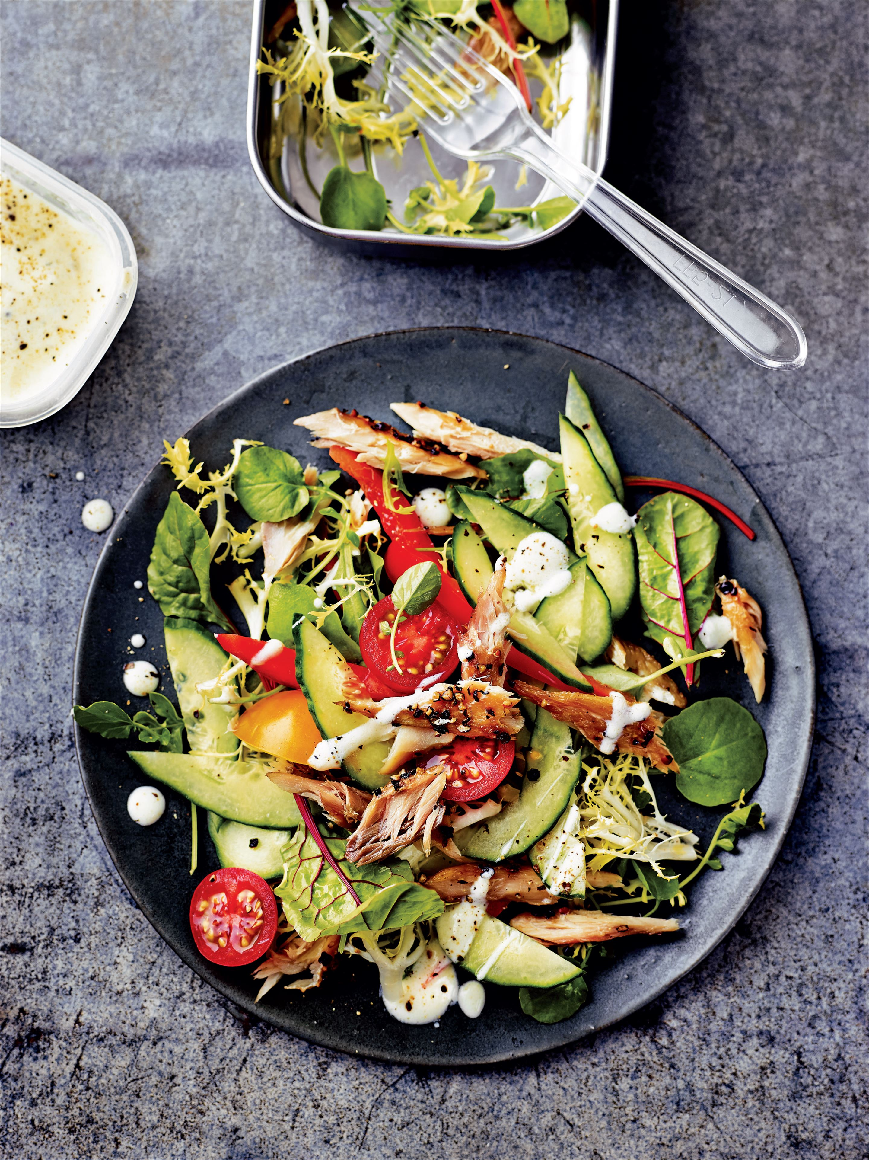 Mackerel omega power salad with horseradish dressing