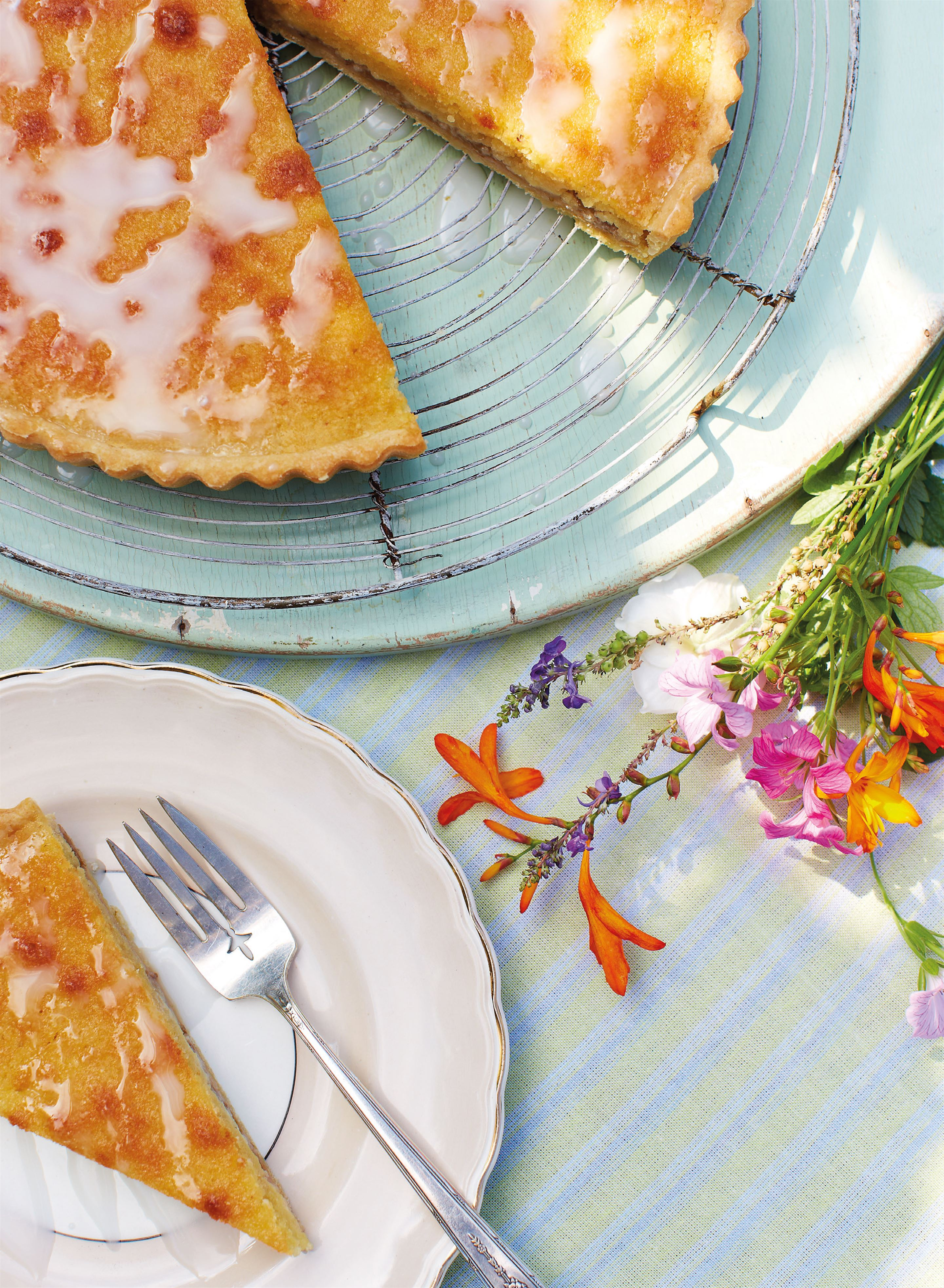 Summer's eve elderflower and gooseberry frangipane tart
