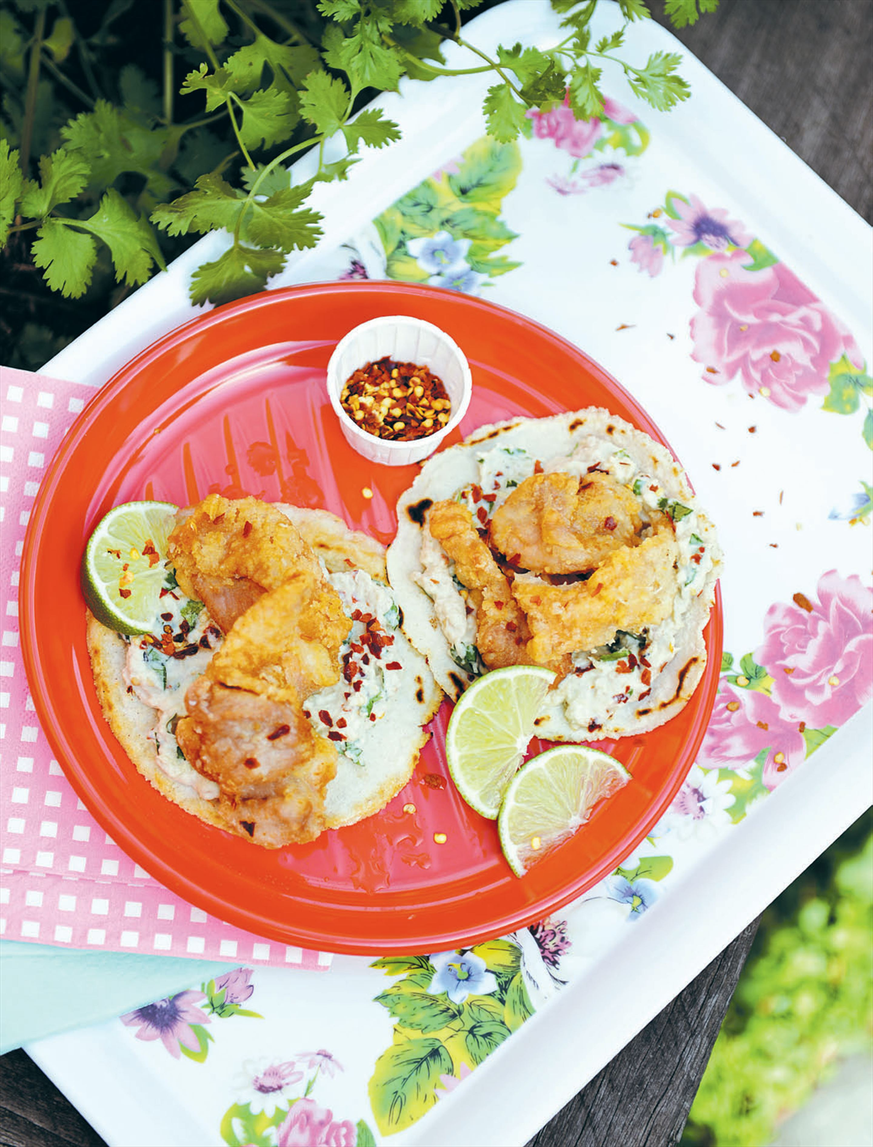 Fried chicken tacos with spiced eggplant