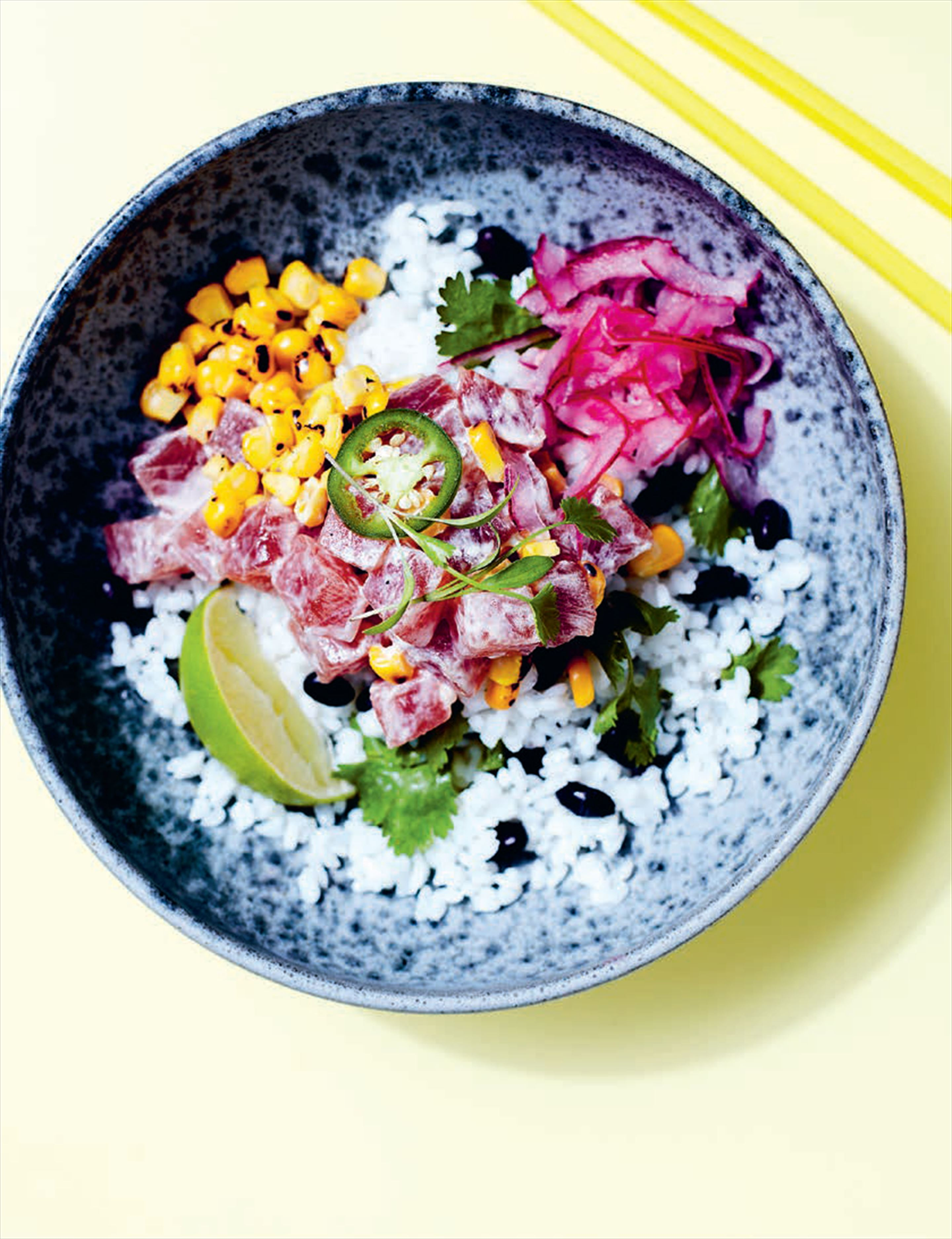 Mexican ahi with sweetcorn in smoky mayo