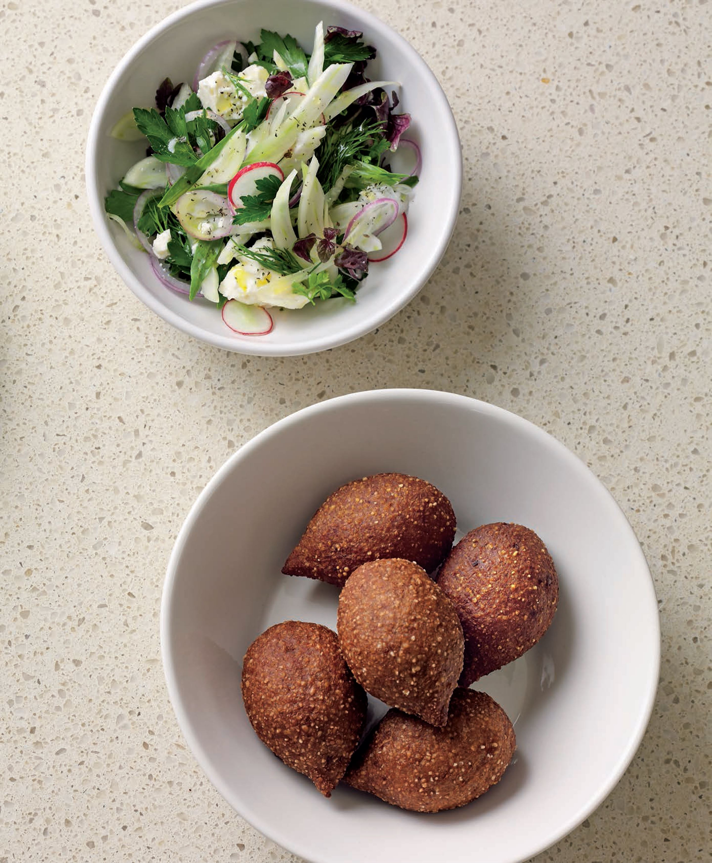 Zghorta-style kibbeh patties stuffed with cinnamon and pine nut butter