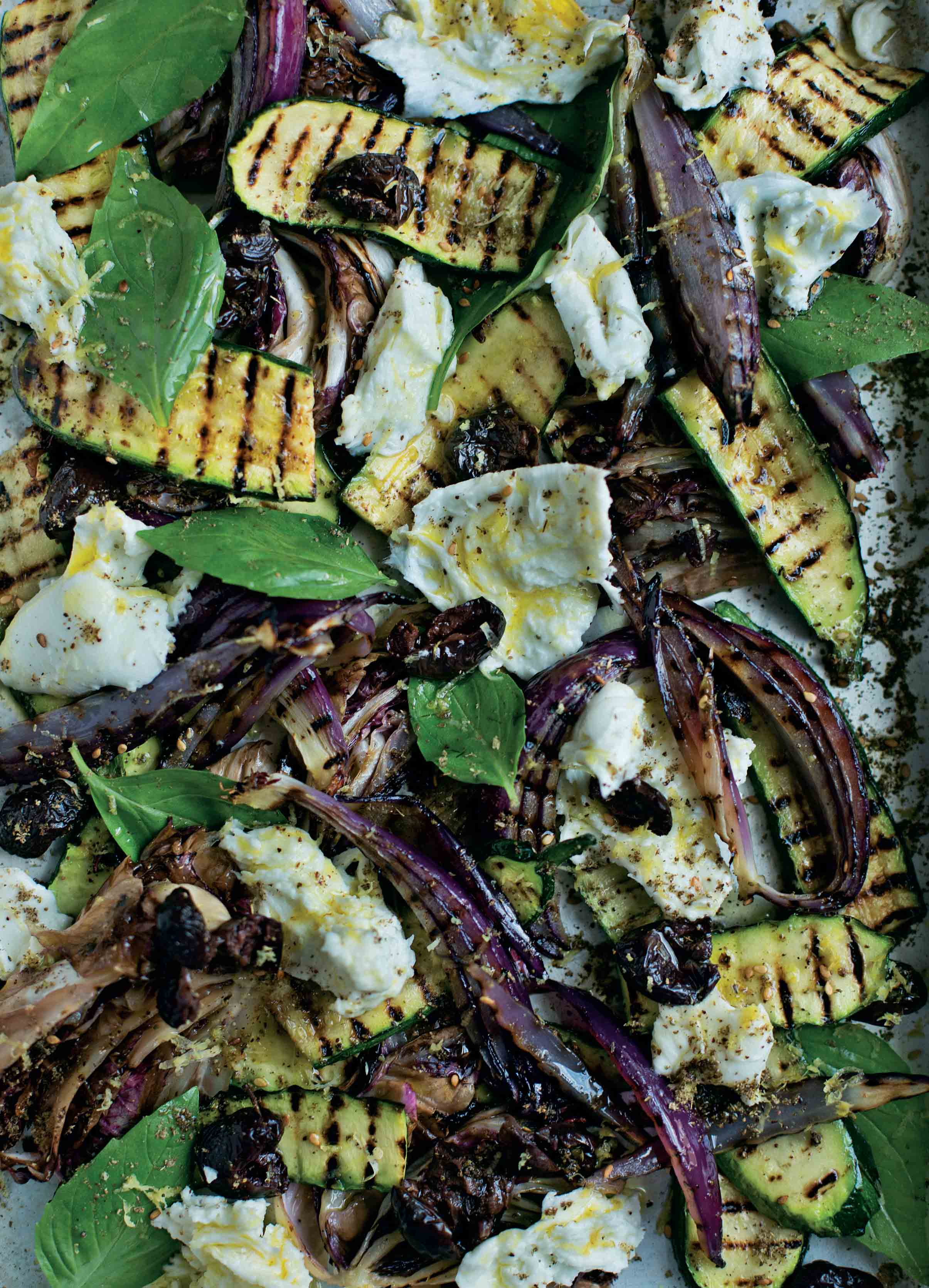 Grilled salad of courgette, radicchio, basil and mozzarella