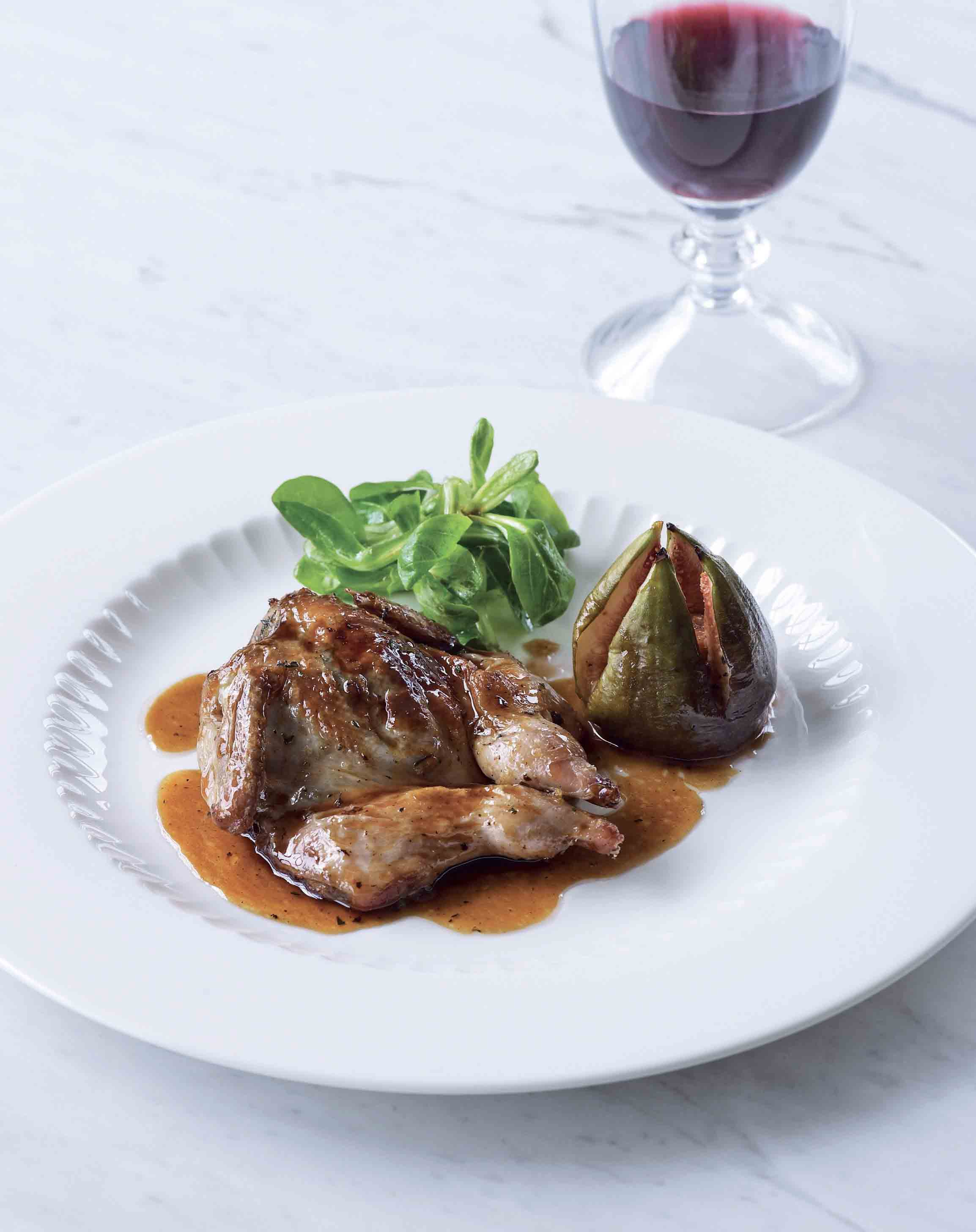Quail with honey, thyme and figs