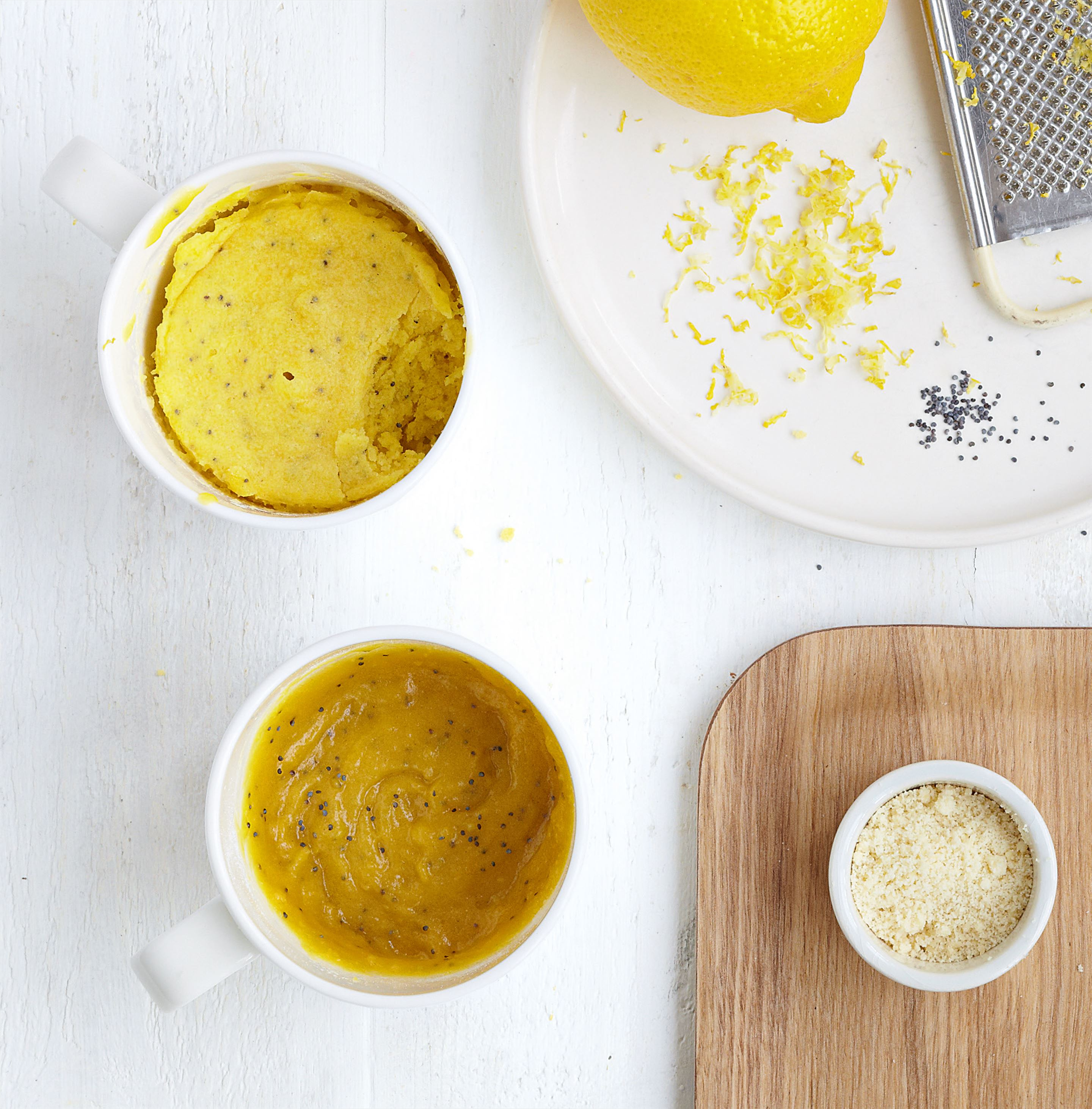 Lemon and poppy seed mug cookie