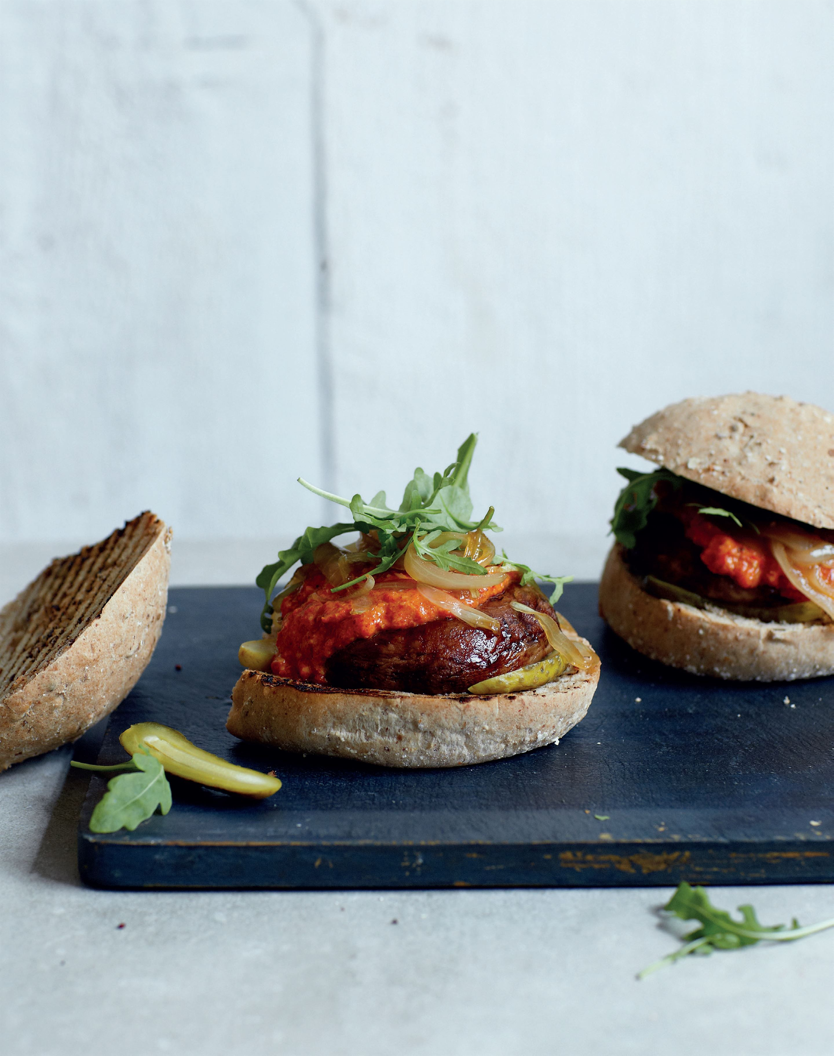 Portobello mushroom burger with red pepper sauce