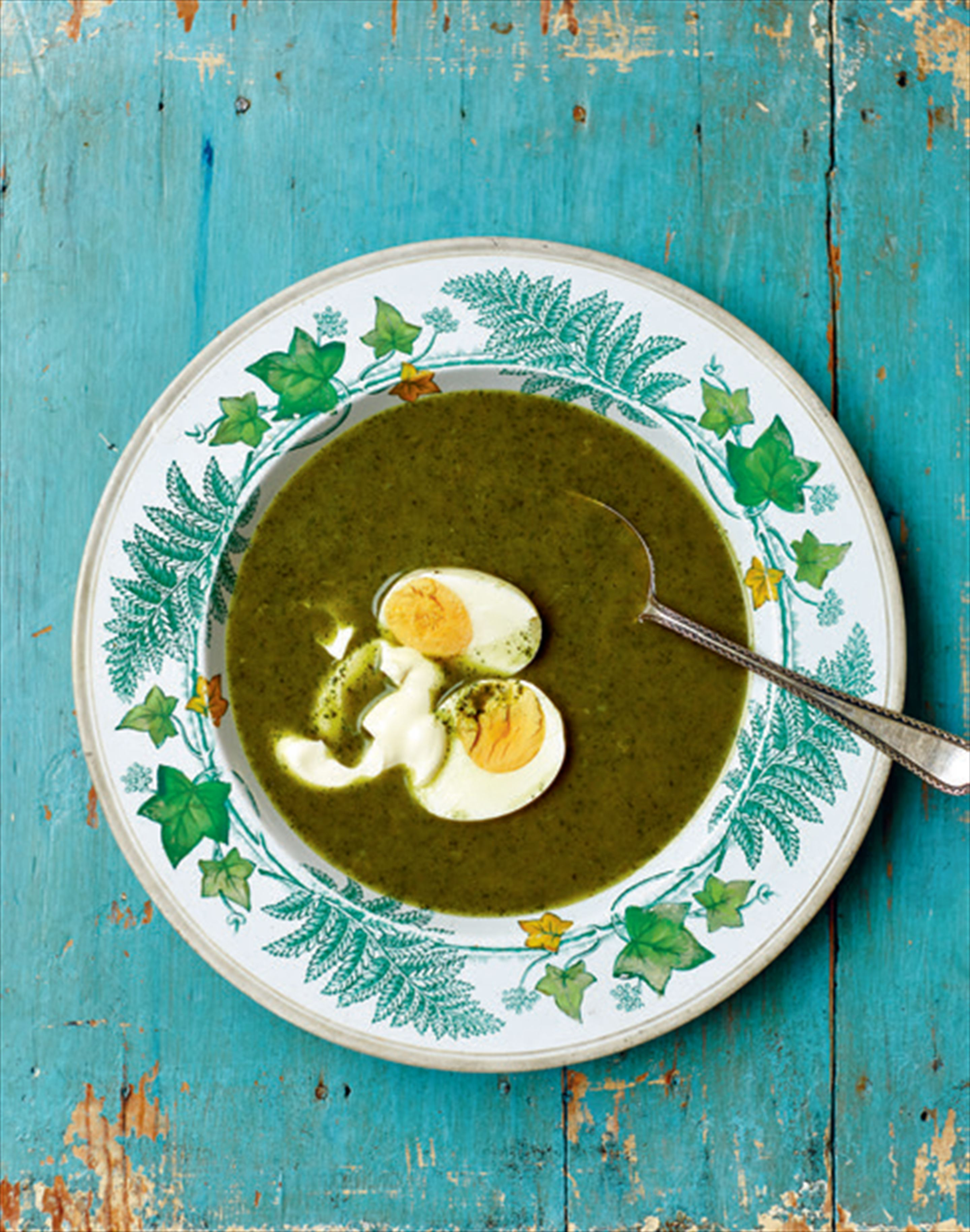 Foragers' soup with sorrel and young nettles
