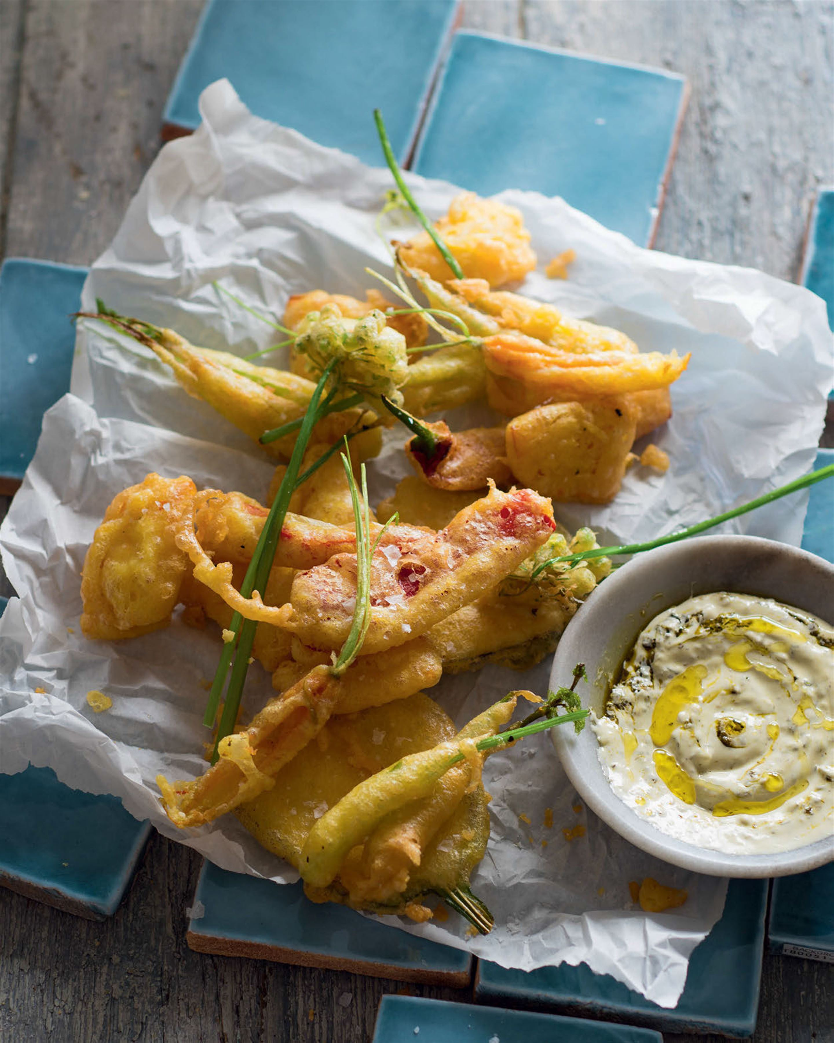 Vegetable 'fritto misto' in saffron-yeast batter