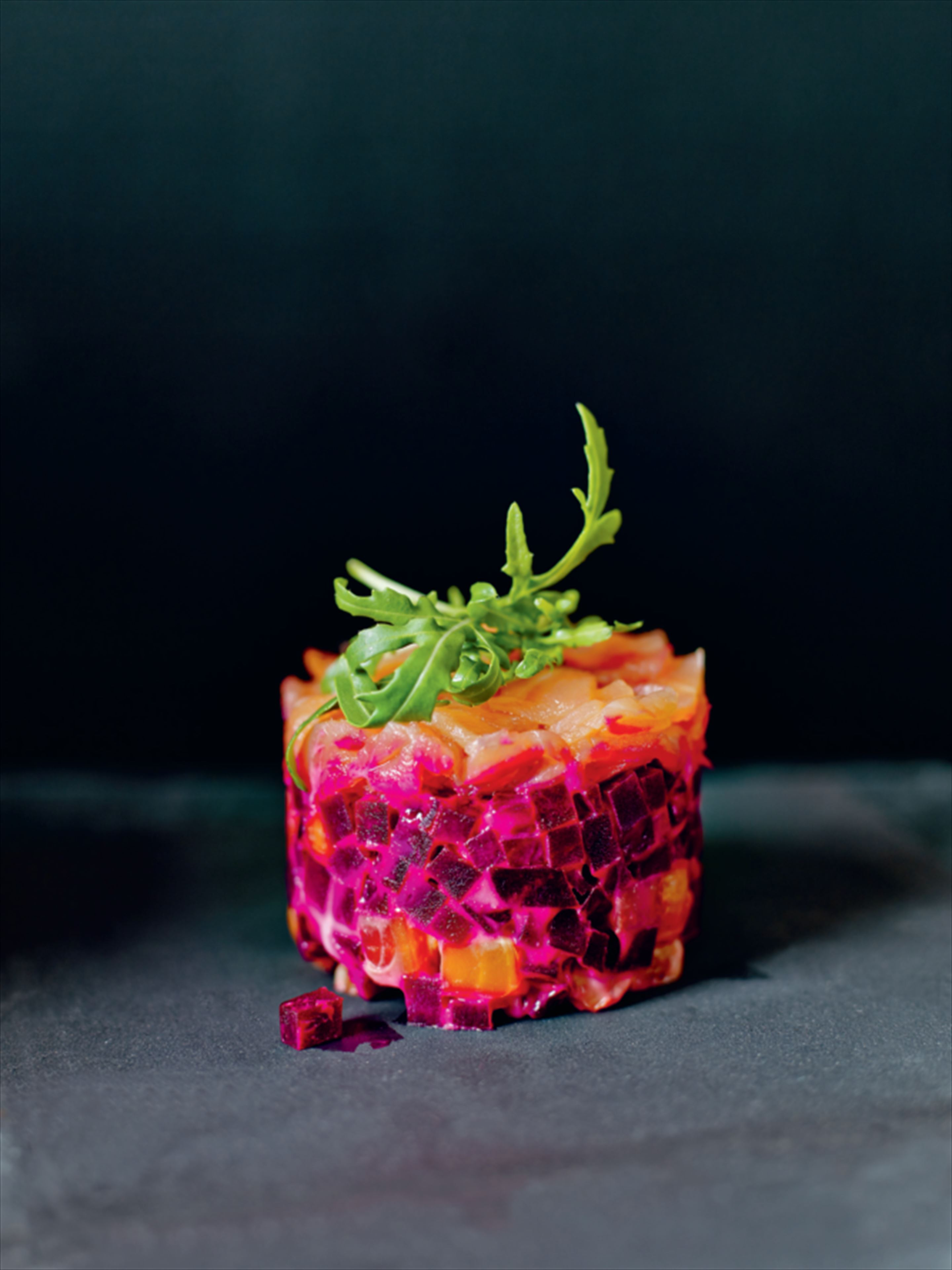 Salmon and beetroot wasabi stacks