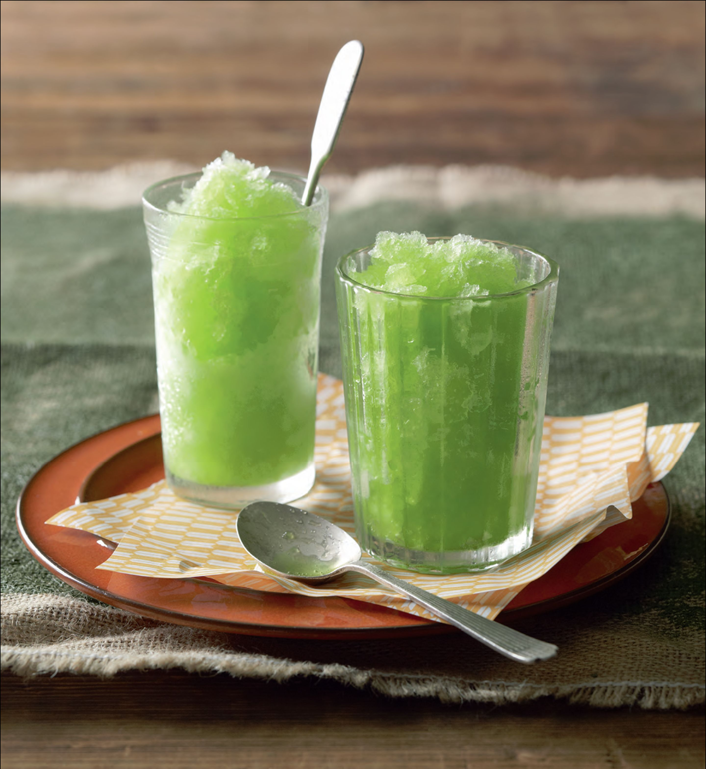 Sake and melon granita