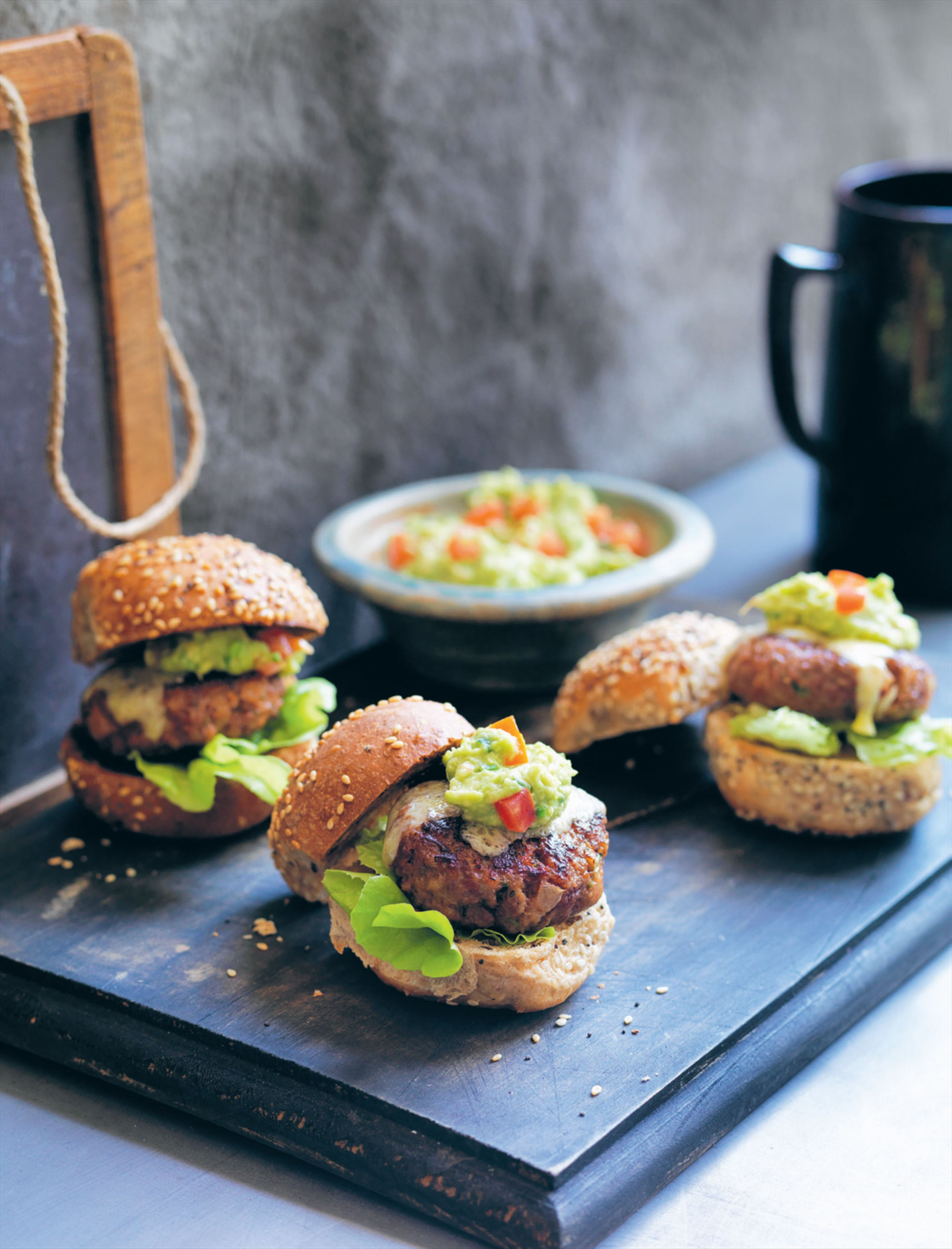 Mini burgers with guacamole