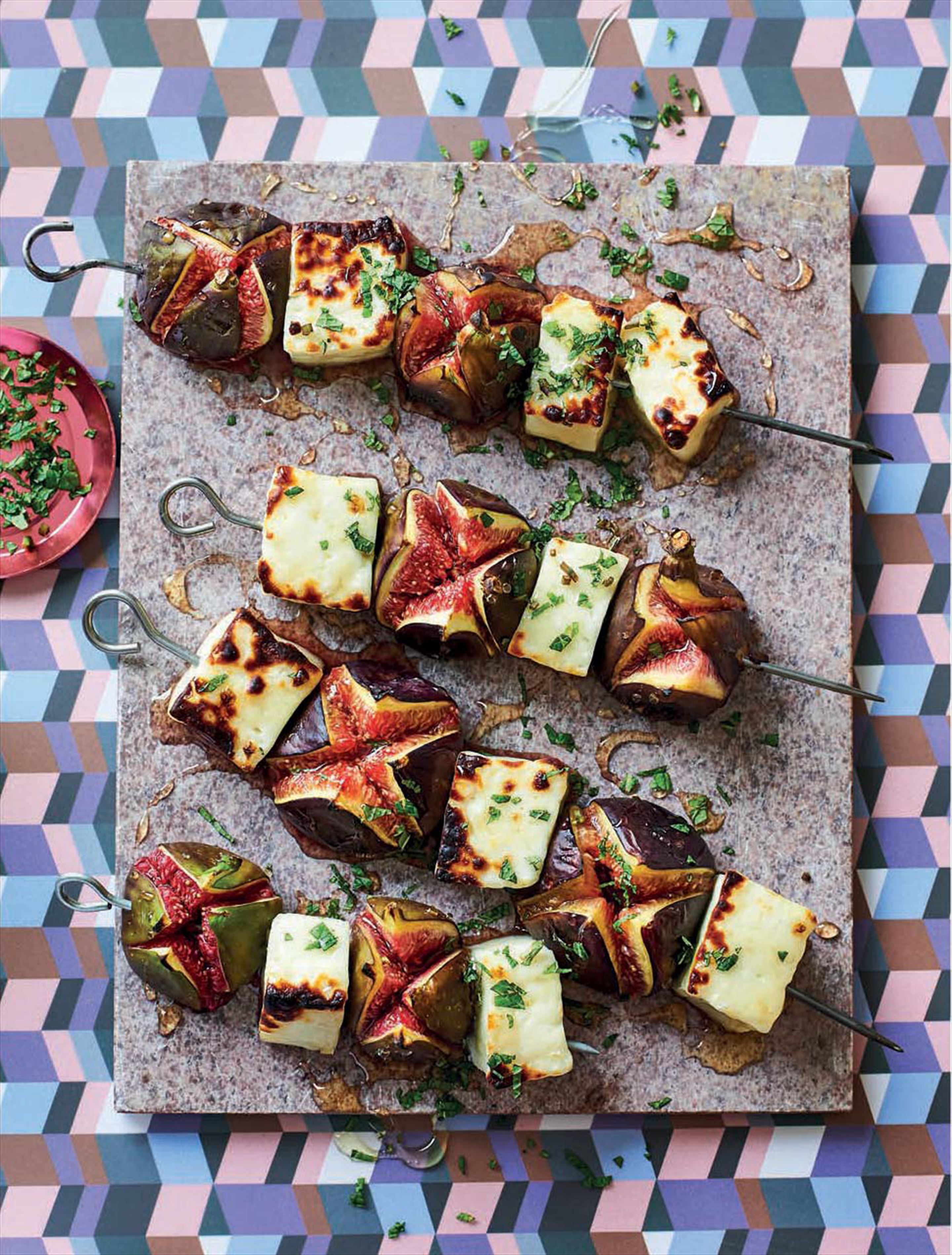 Fig & halloumi skewers