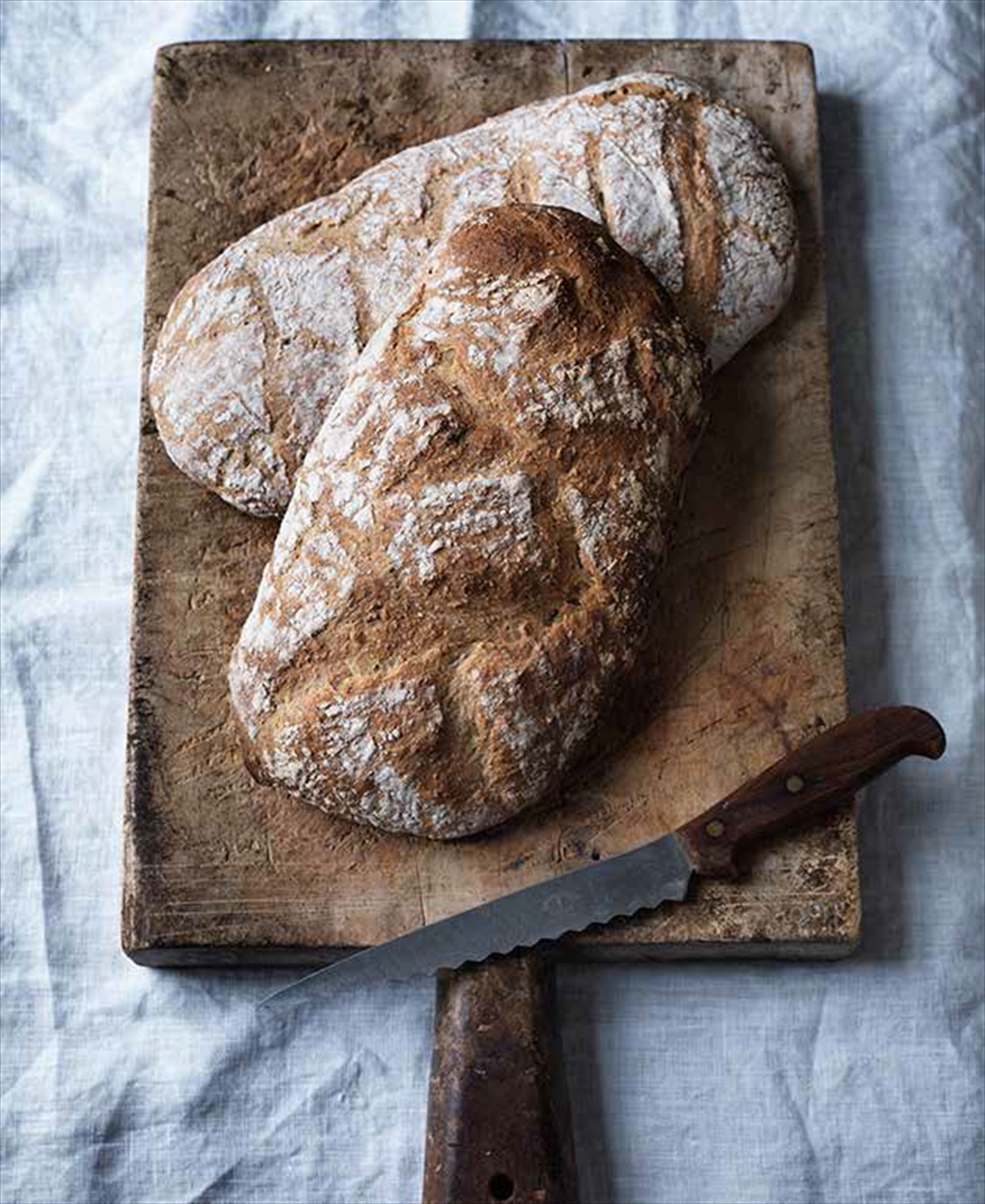 Cold-risen wheat and oat bread