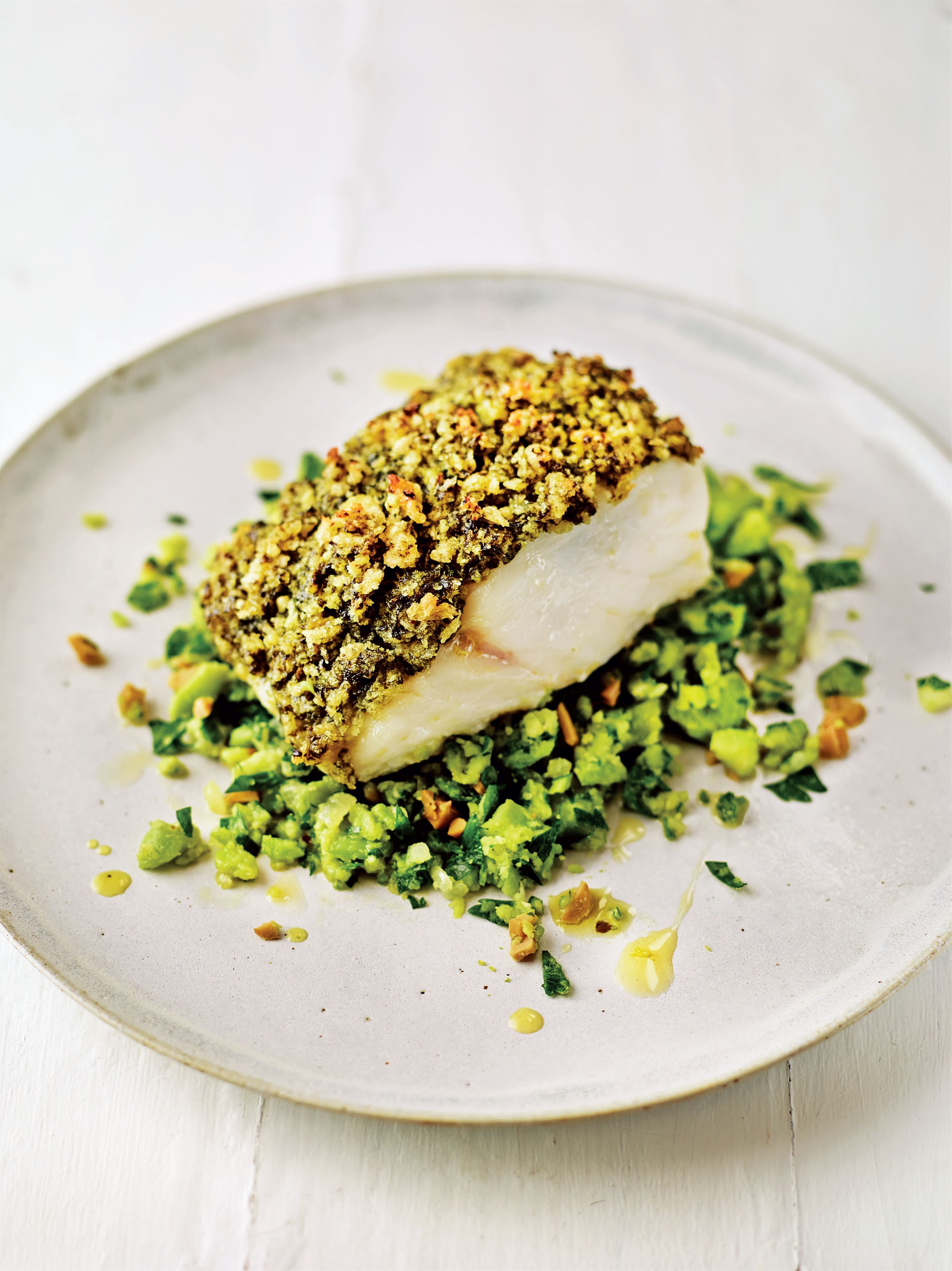 No-stress pesto cod with greeny beany mash