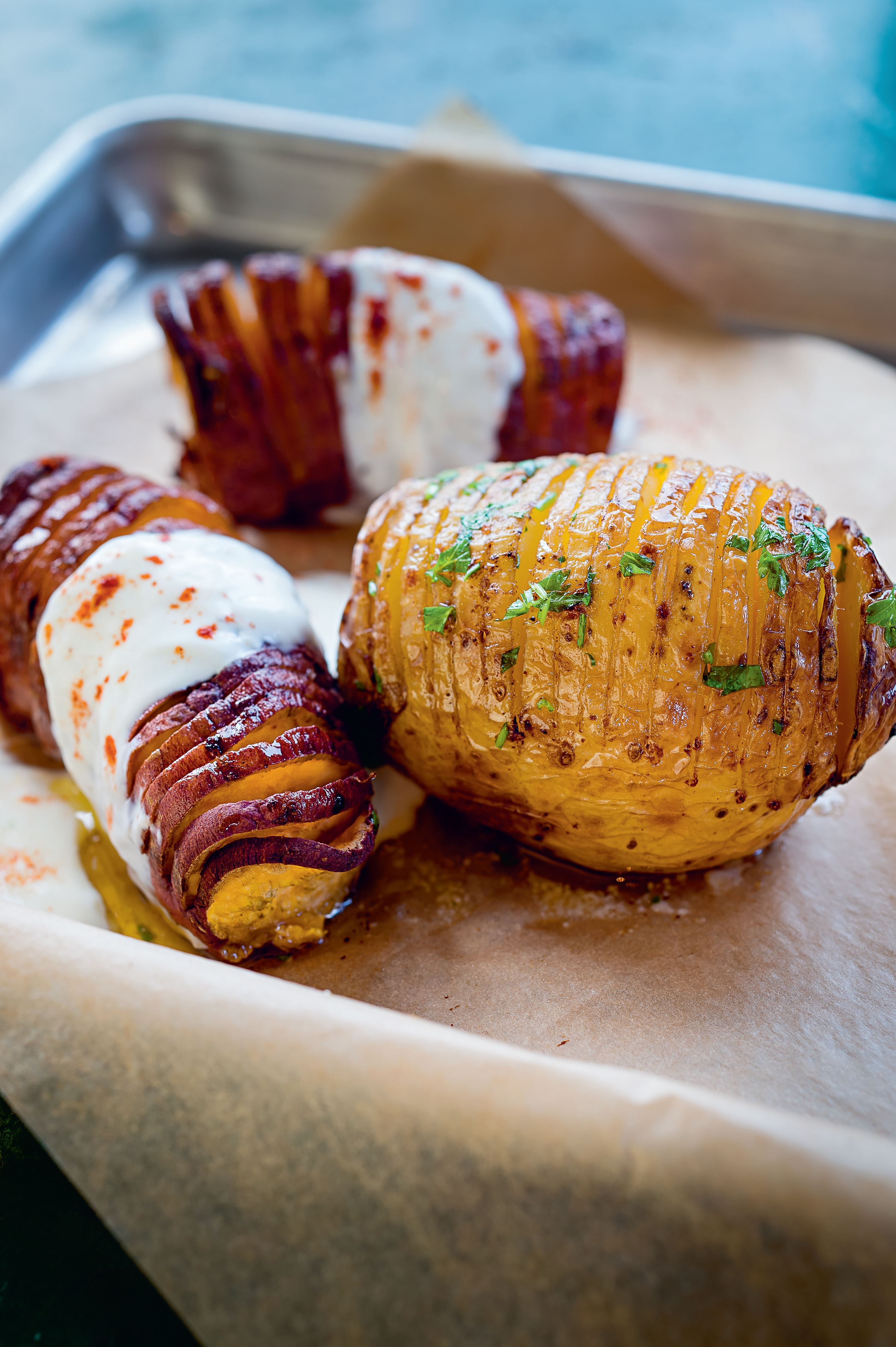 Hasselback potatoes with brown butter