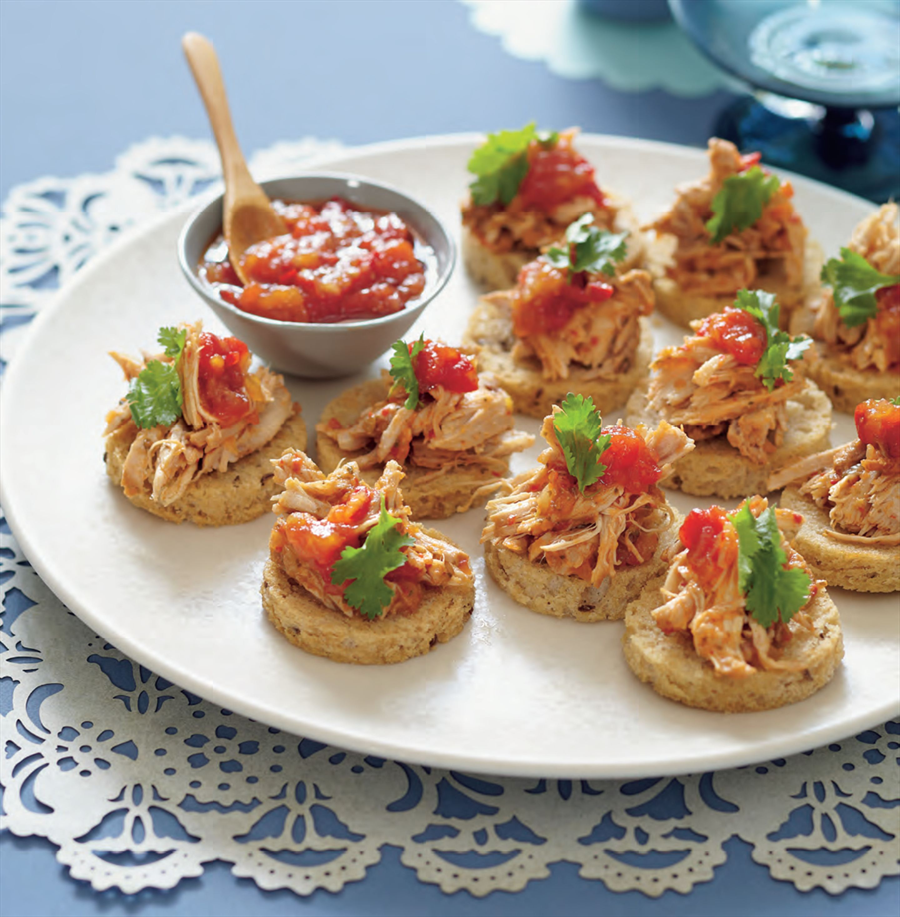 Pork and chilli jam tostadas