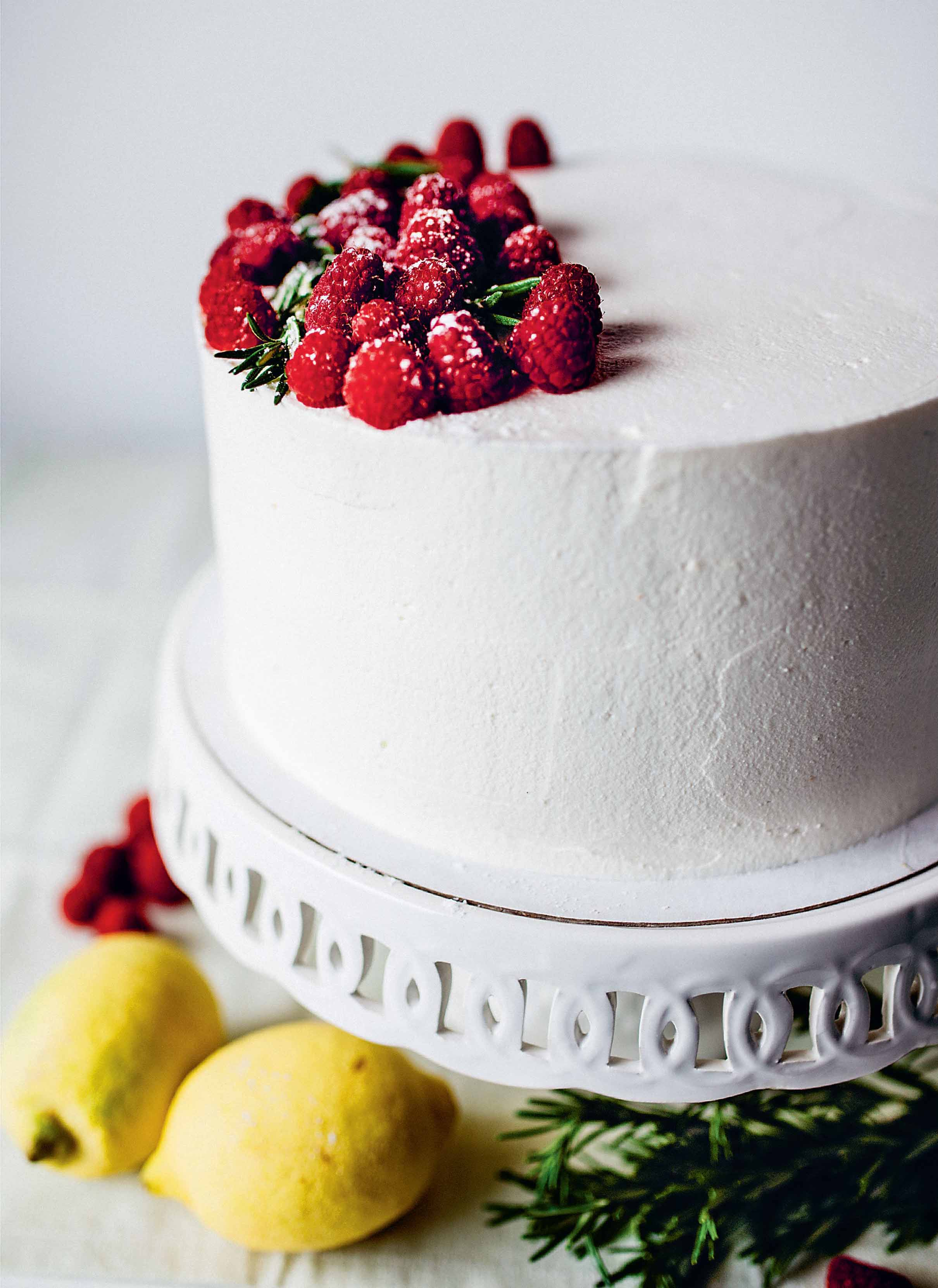 Lemon, raspberry and rosemary cake