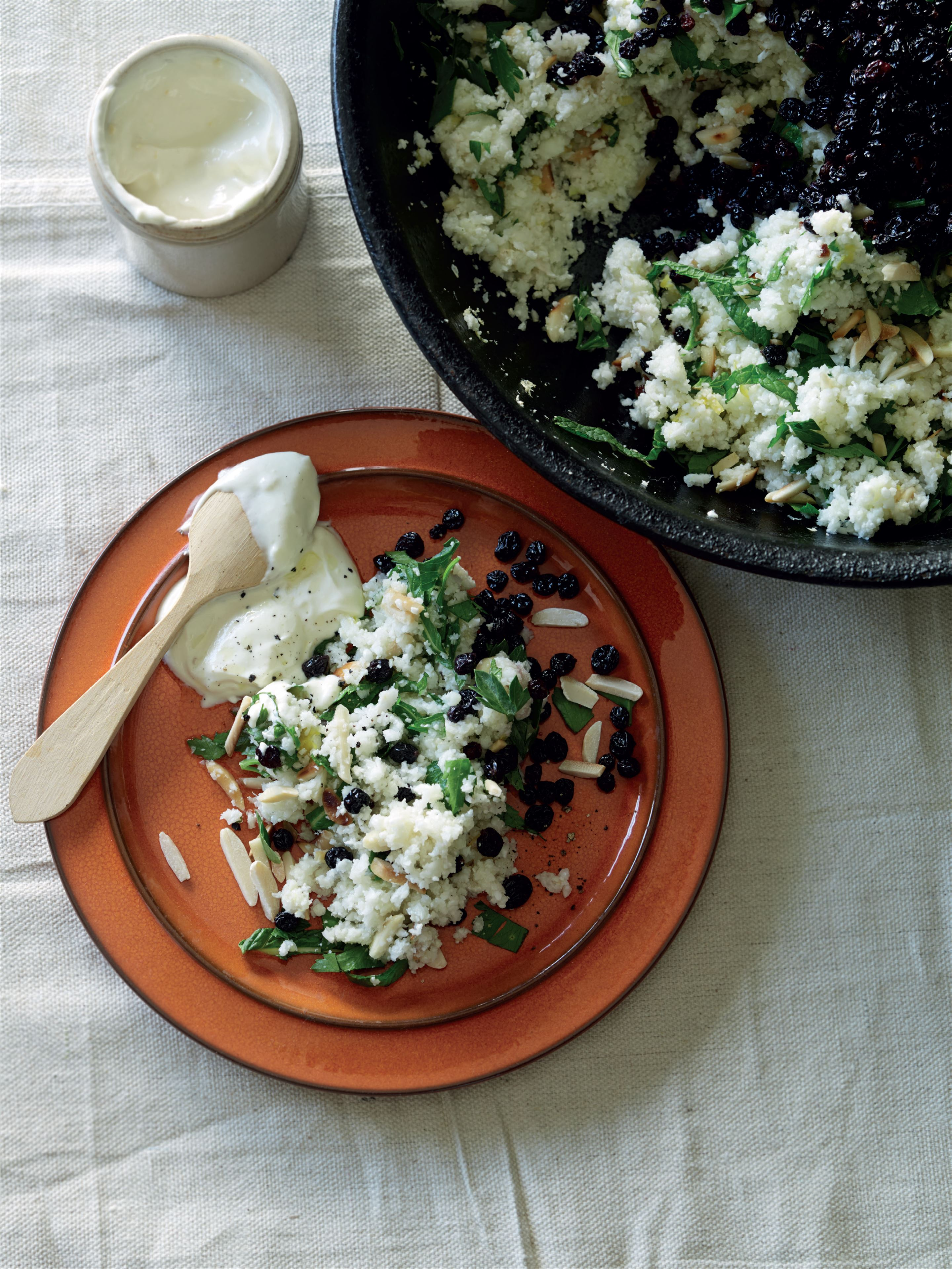 Cauliflower 'couscous' with almonds, currants and mint