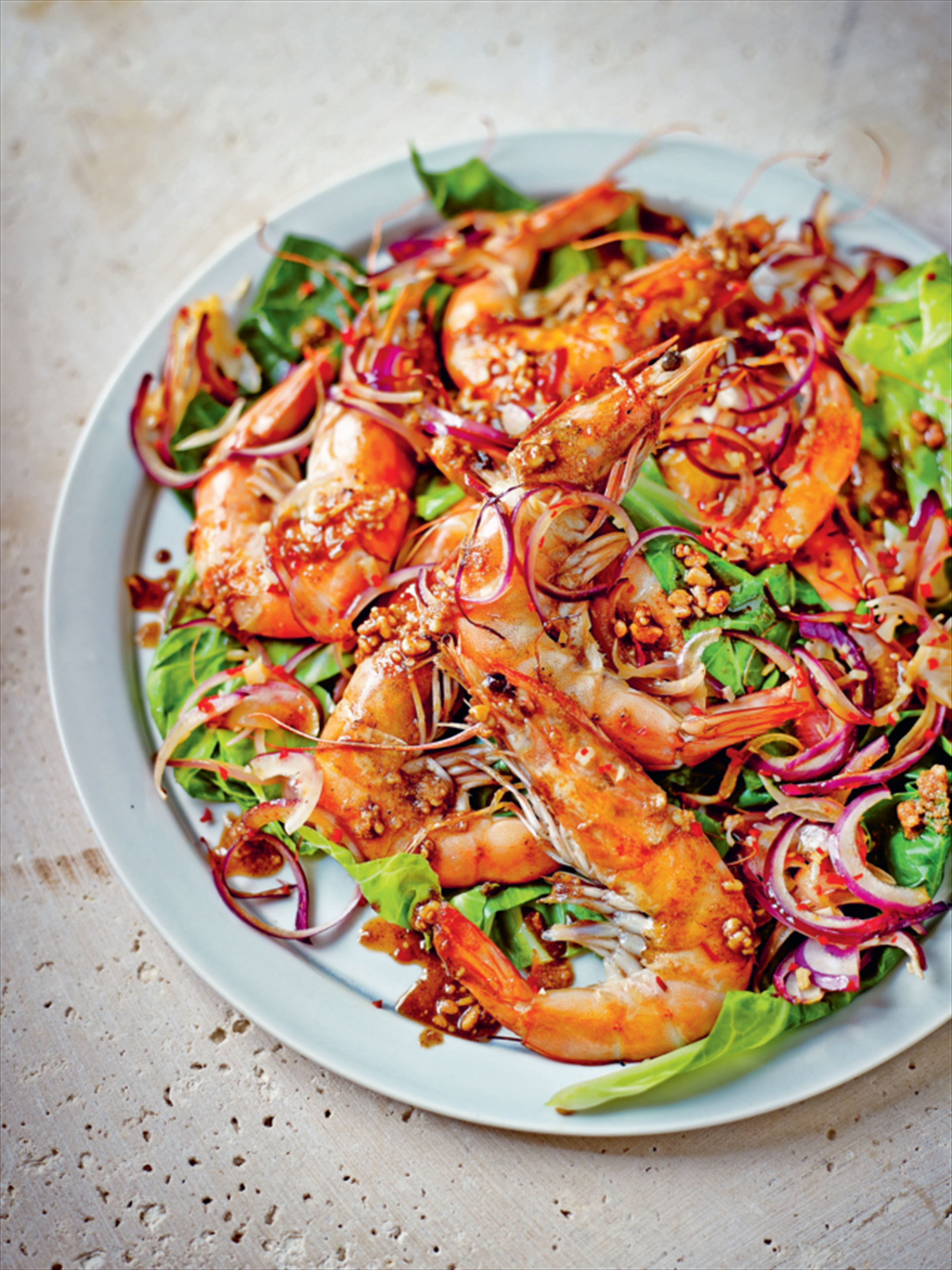 Satay prawns and greens