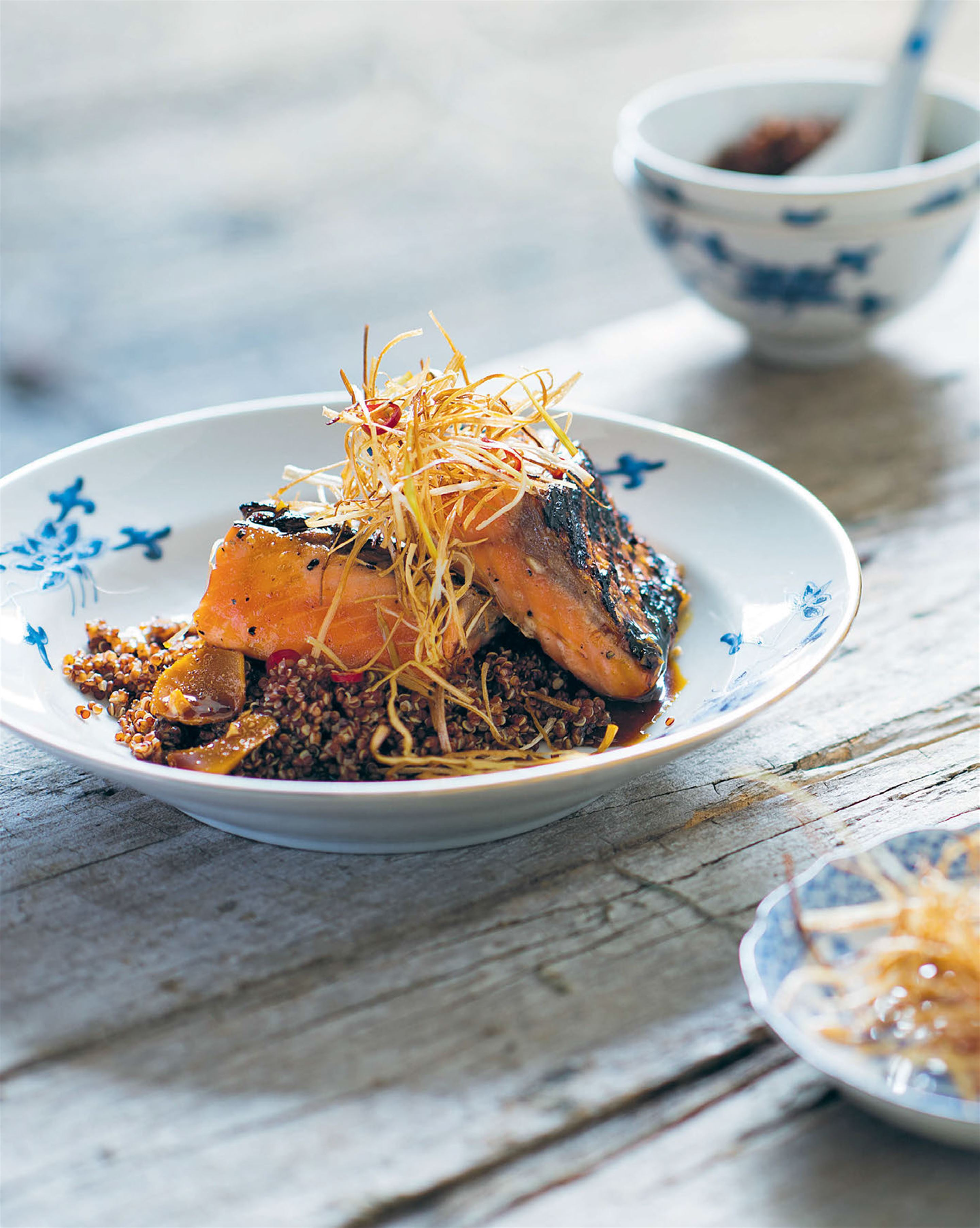 Chargrilled ocean trout with ginger & crispy leeks