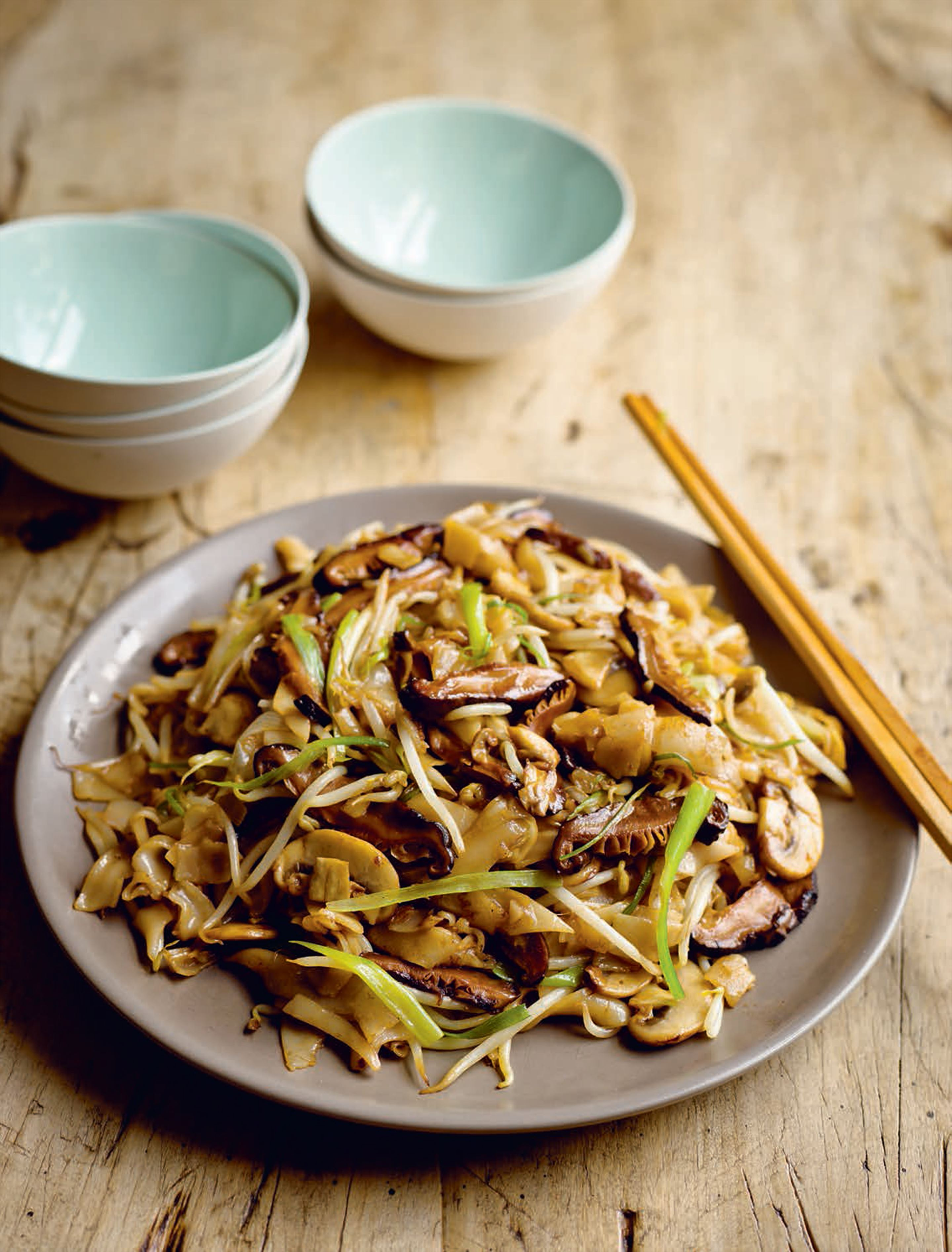 Ho fun rice noodles with mushrooms